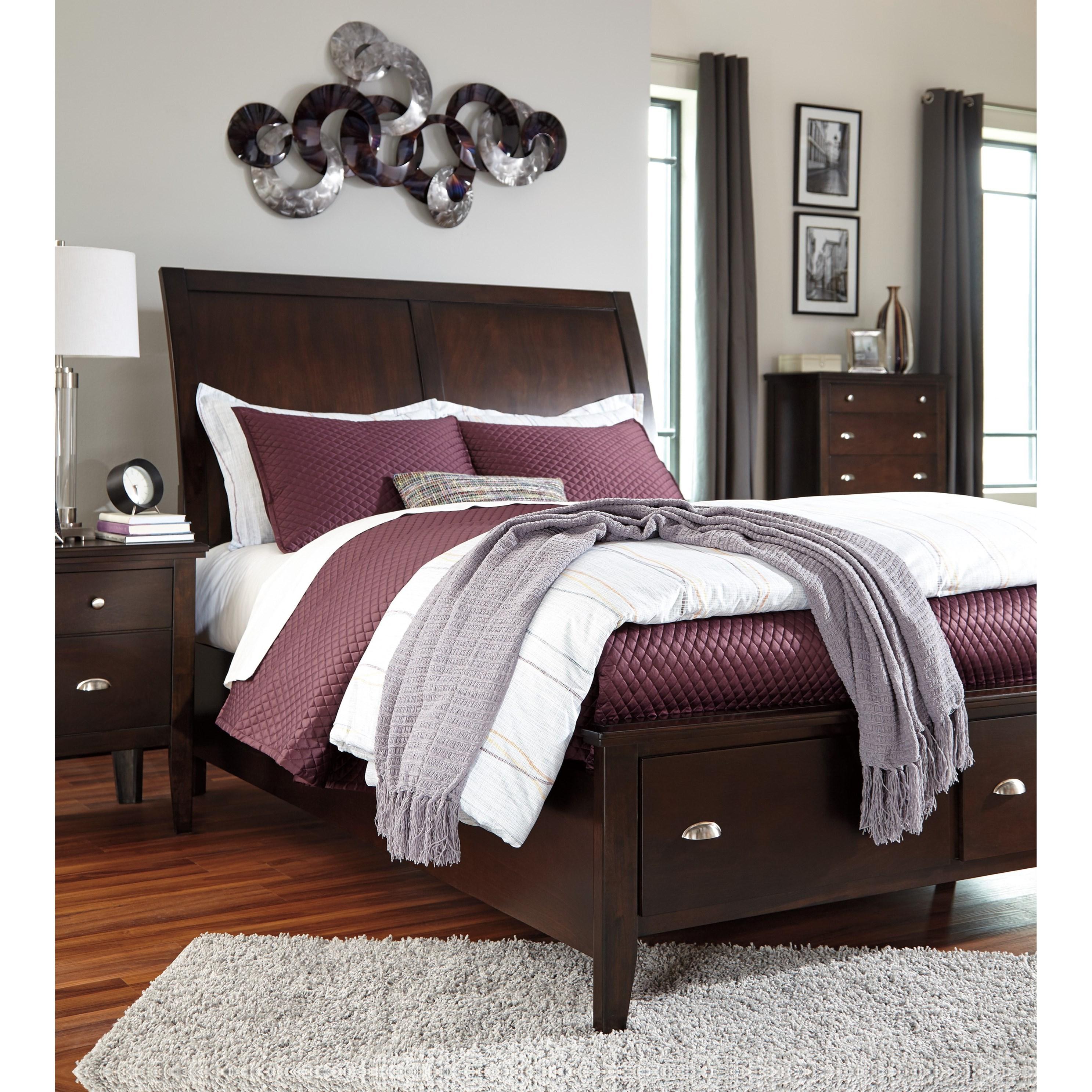 Signature Design By Ashley Evanburg Cherry Finish King Sleigh Storage Bed Beck 39 S Furniture