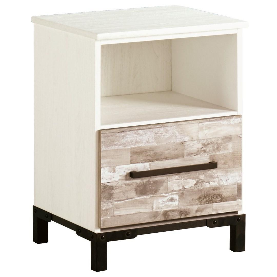 signature design by ashley evanni rustic gray white one. Black Bedroom Furniture Sets. Home Design Ideas