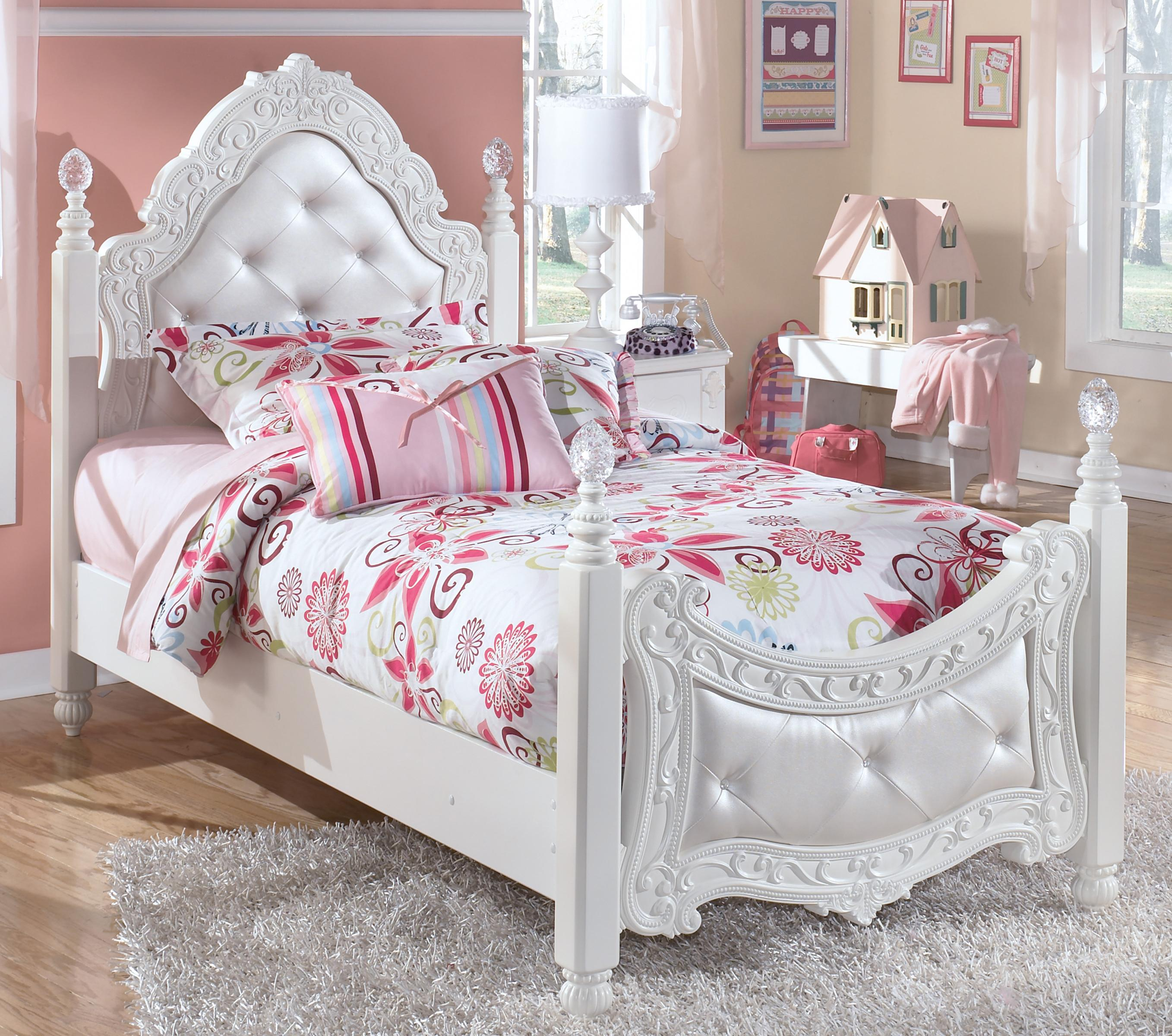 Signature Design By Ashley Exquisite B188 71 82n Twin Ornate Poster Bed With Tufted Headboard