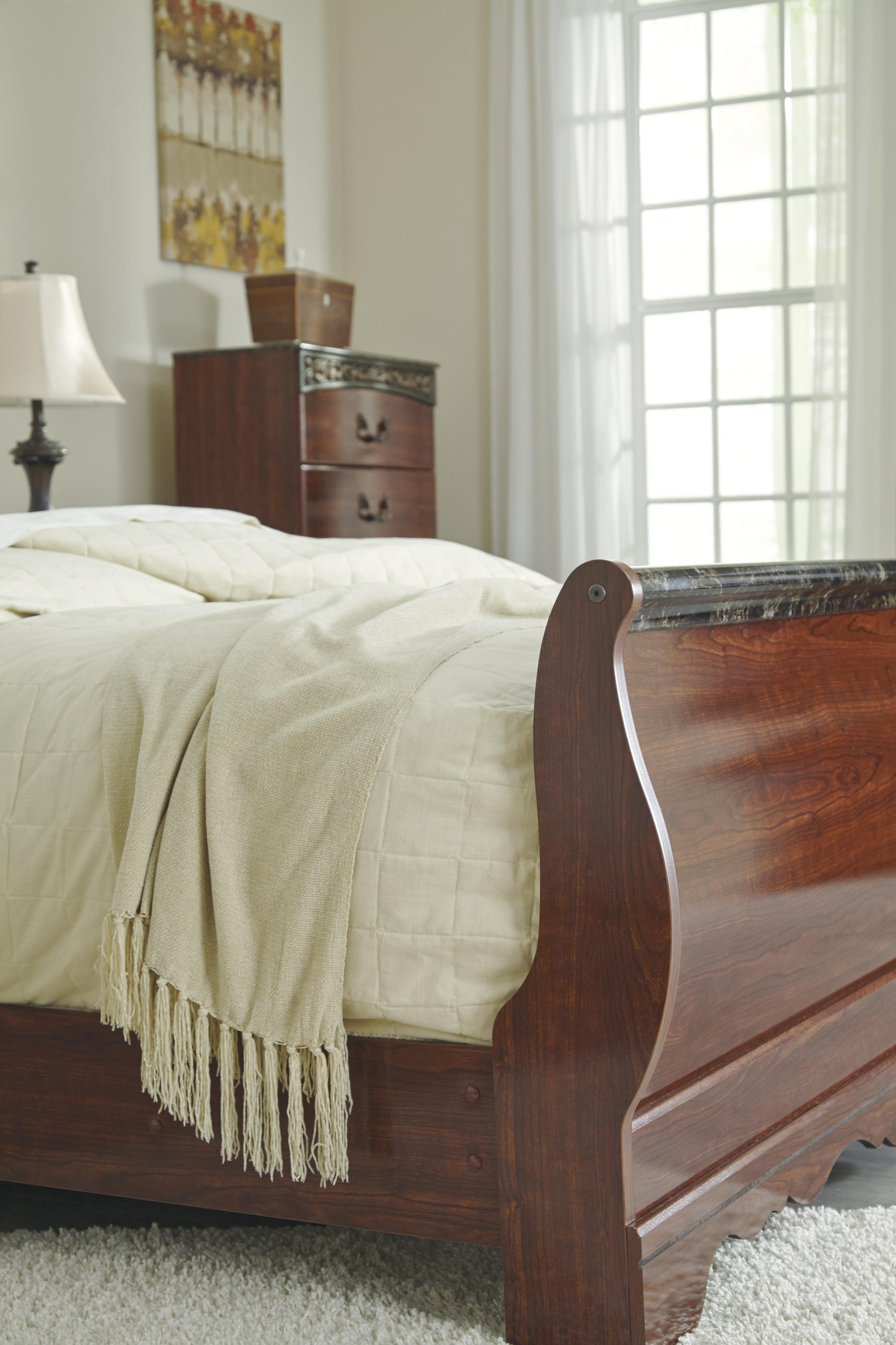 Signature Design By Ashley Fairbrooks Estate Queen Sleigh Bed With Scrolled Insert And Faux