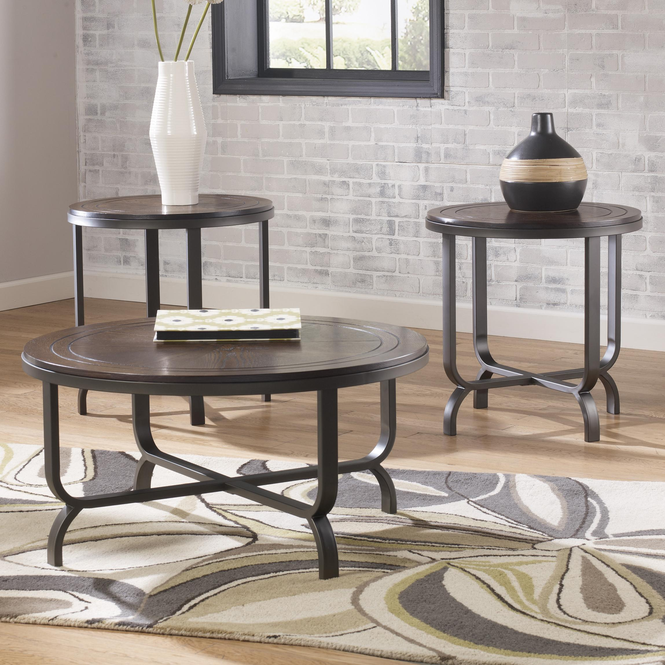 Styleline wheeler t238 13 wood steel round top occasional table set efo furniture outlet for Ashley wilkes bedroom collection