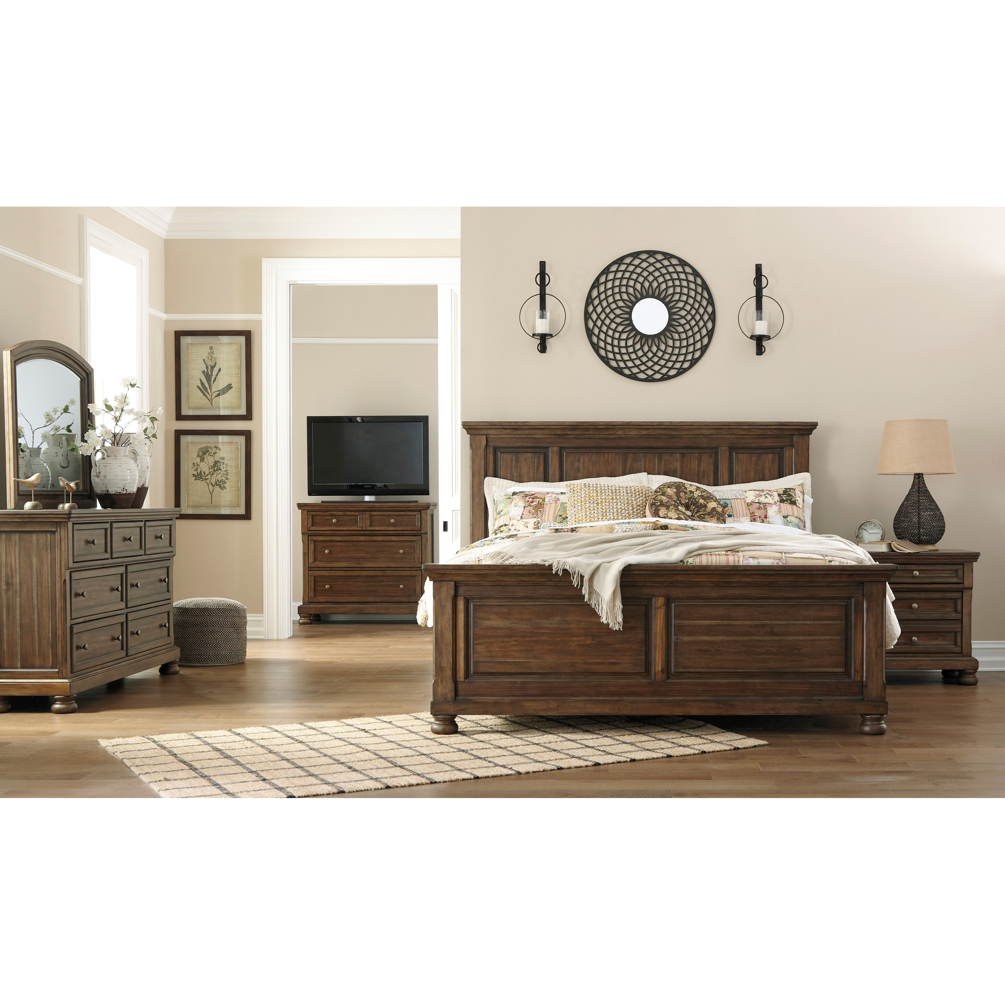 Signature design by ashley flynnter king bedroom group for Bedroom furniture groups