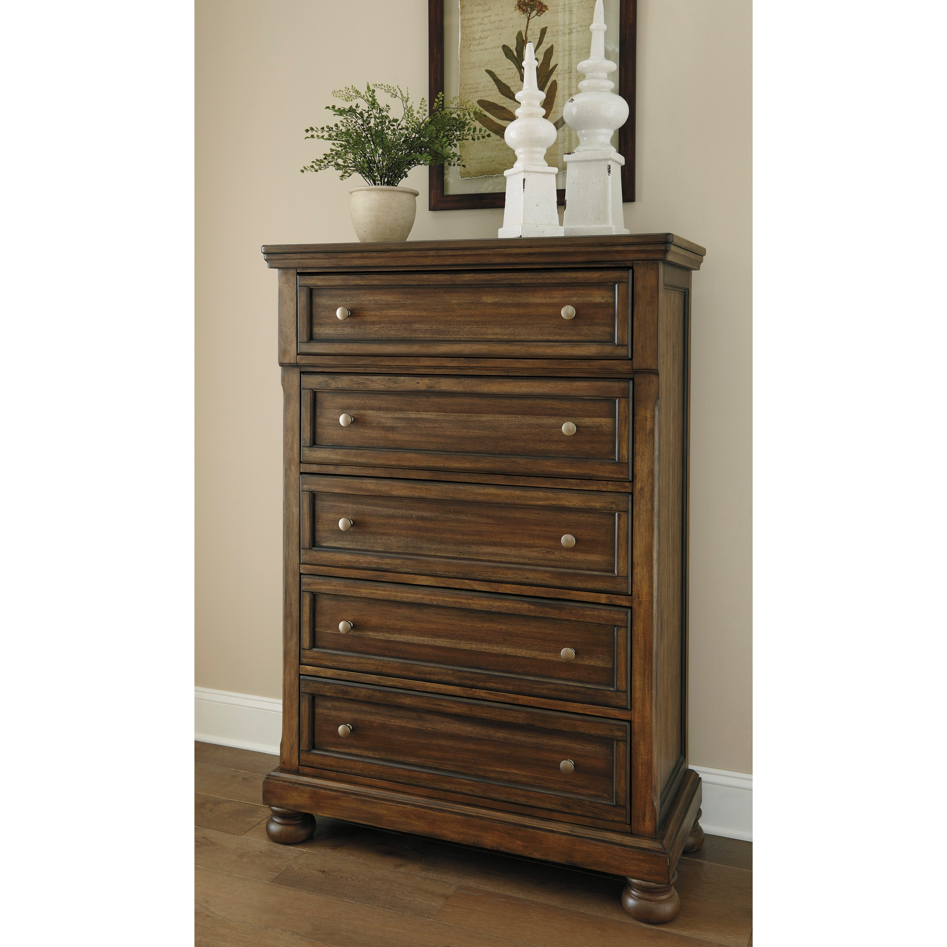 Signature design by ashley flynnter five drawer chest with for Bedroom furniture 37027