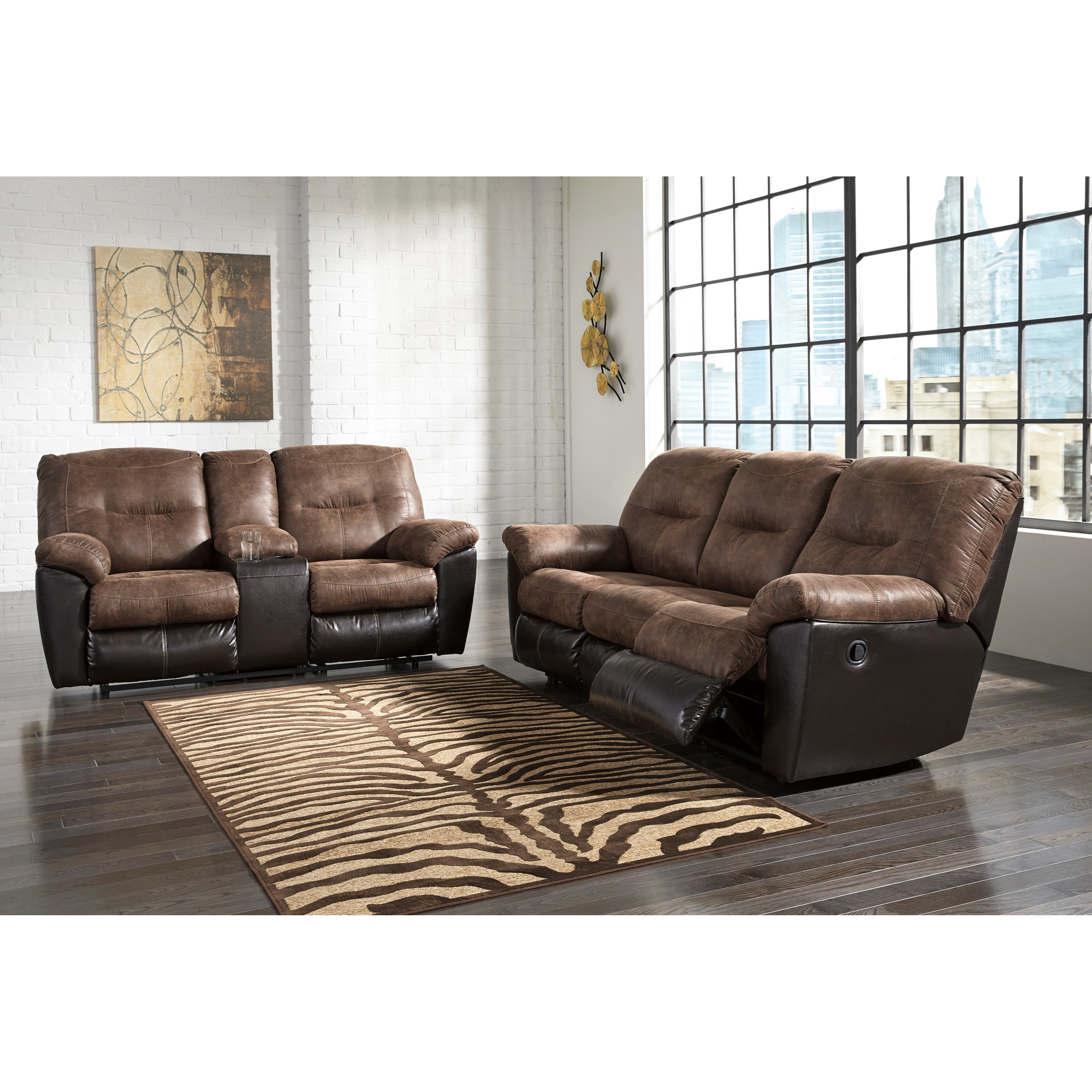 Styleline lannister reclining living room group efo furniture outlet reclining living room for Ashley wilkes bedroom collection