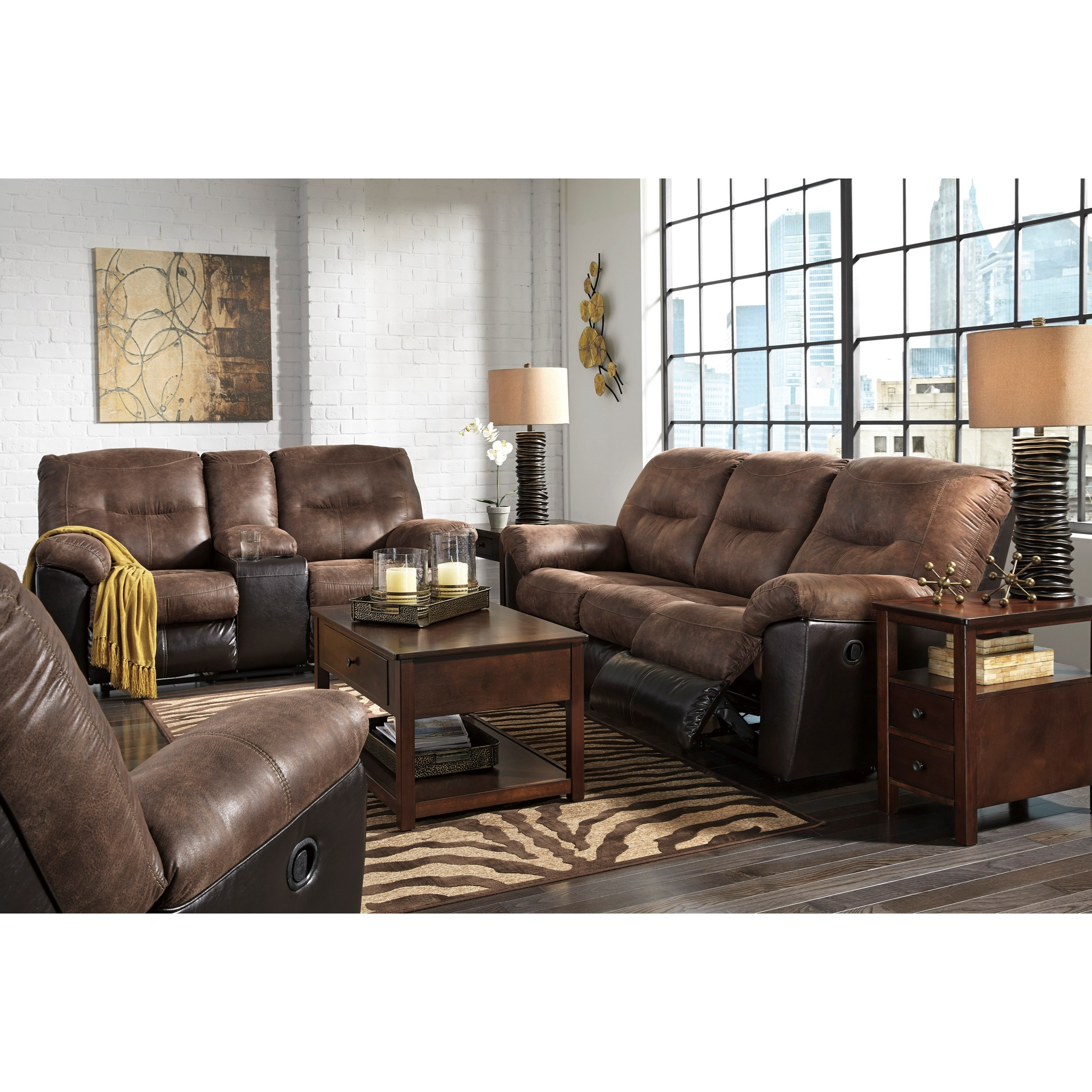 Signature design by ashley follett two tone faux leather reclining sofa royal furniture Badcock home furniture more winchester tn