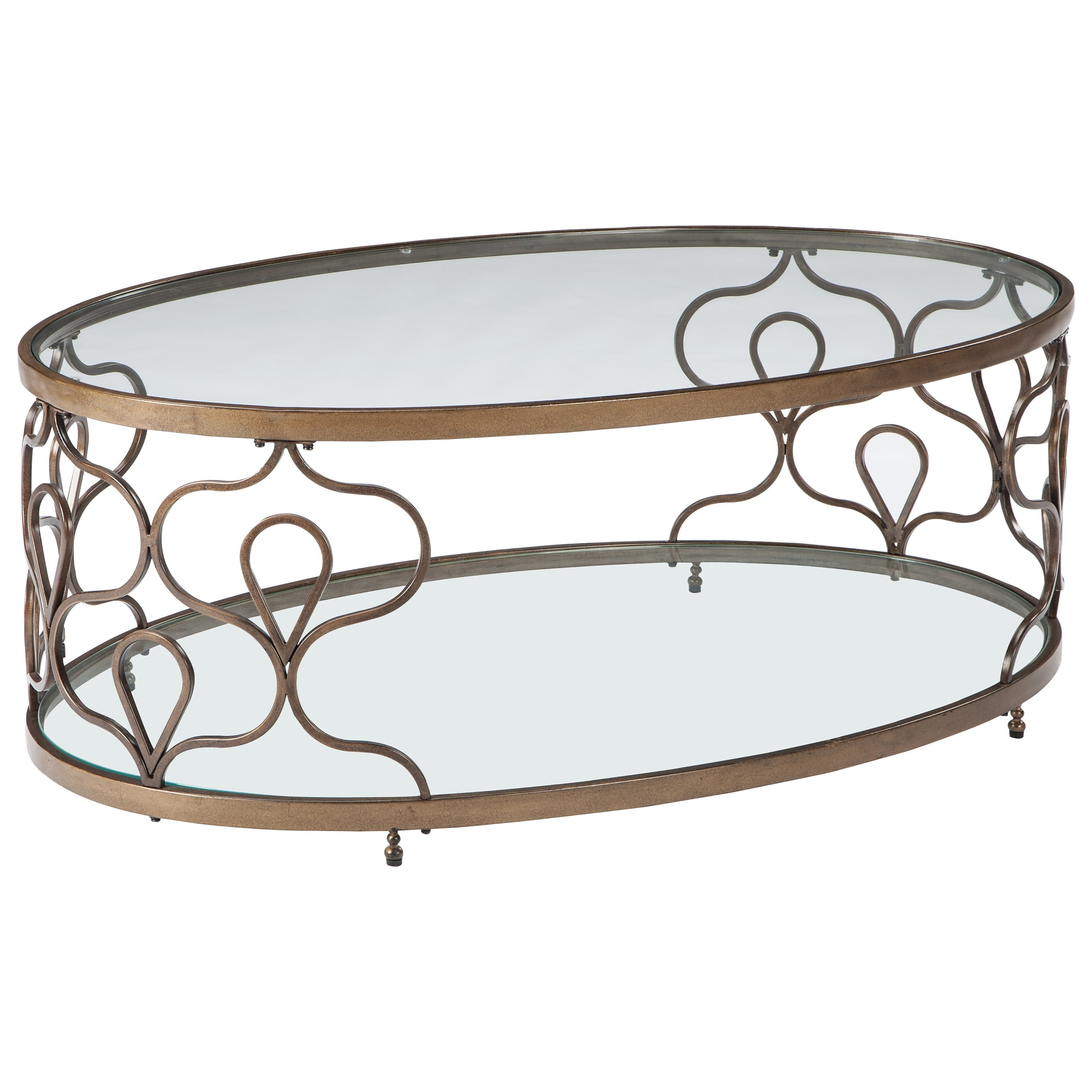 Signature Design By Ashley Fraloni T086 0 Glass Top Oval Cocktail Table In Bronze Finish Del