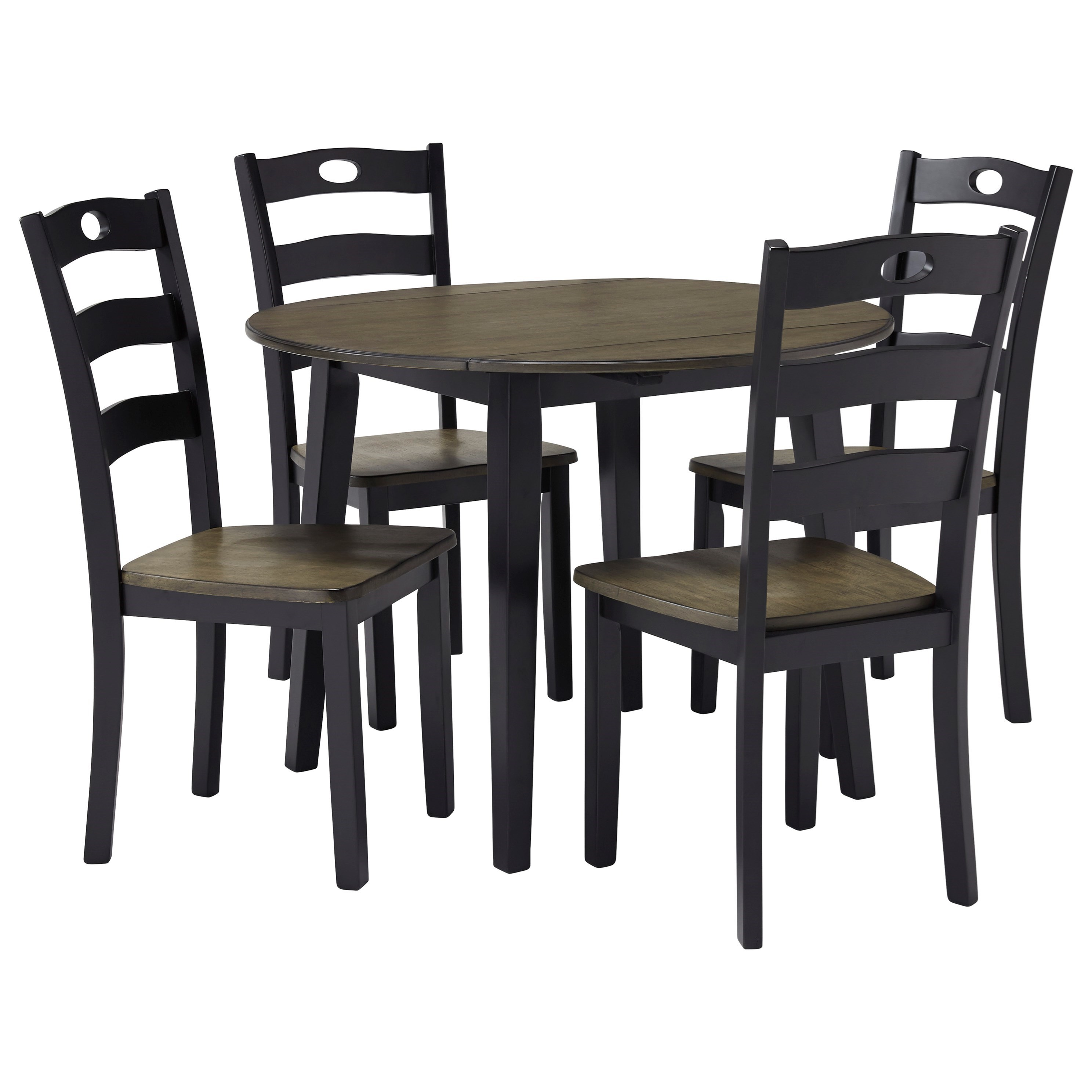 signature design by ashley froshburg two tone finish 5 piece round drop leaf table set value. Black Bedroom Furniture Sets. Home Design Ideas