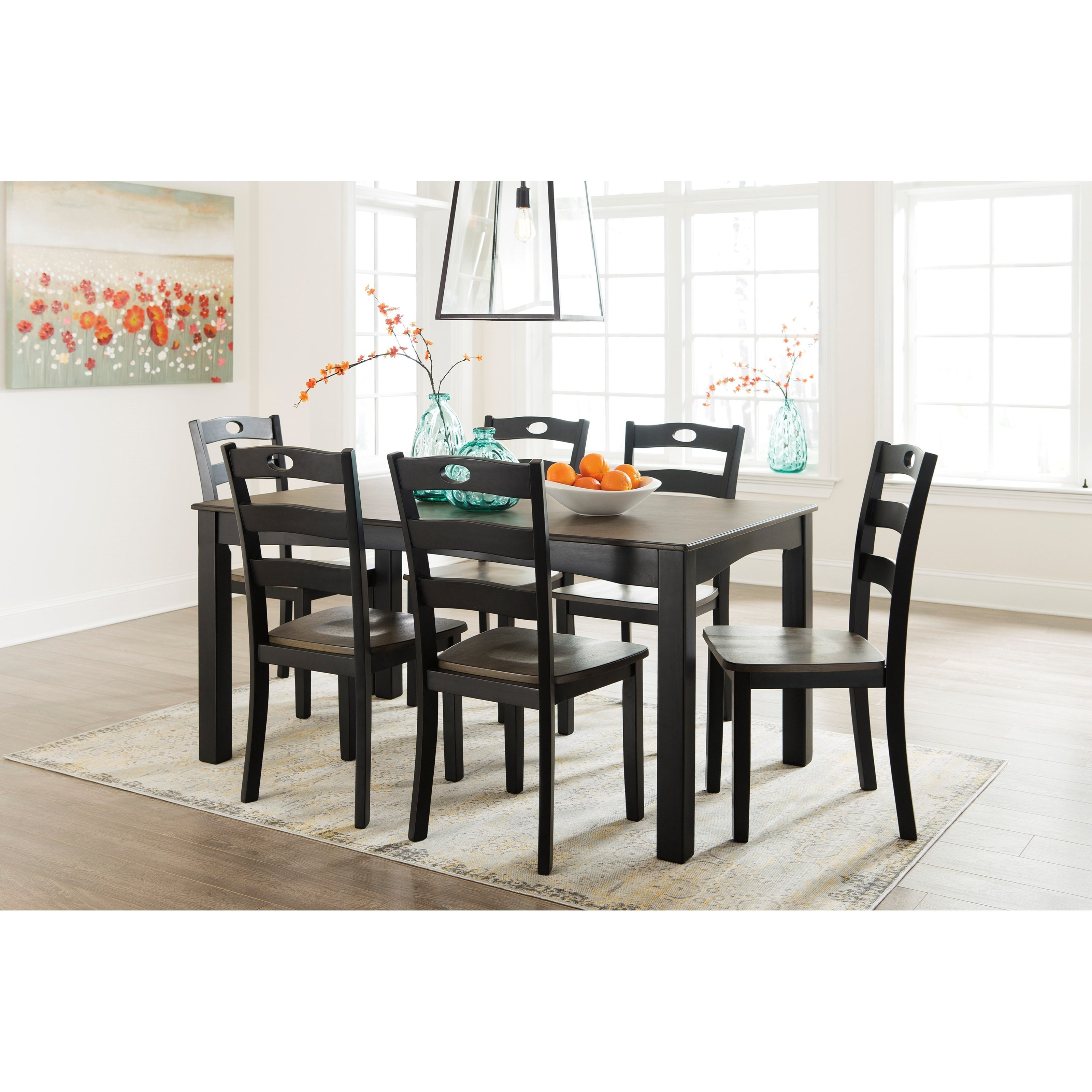 signature design by ashley froshburg two tone finish 7 piece dining room table set value city. Black Bedroom Furniture Sets. Home Design Ideas