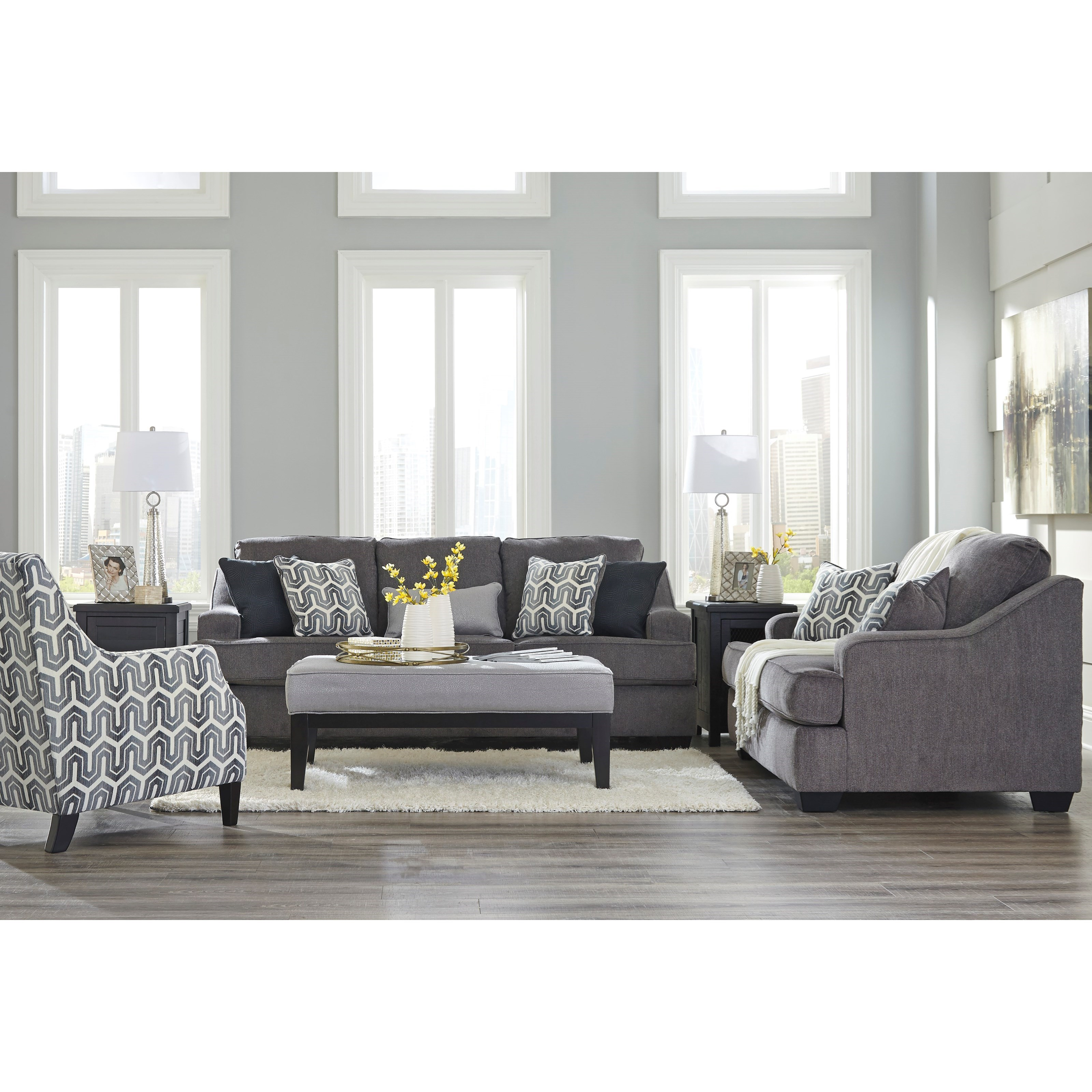 signature design by ashley gilmer 6560338 contemporary sofa with track arms john v schultz. Black Bedroom Furniture Sets. Home Design Ideas