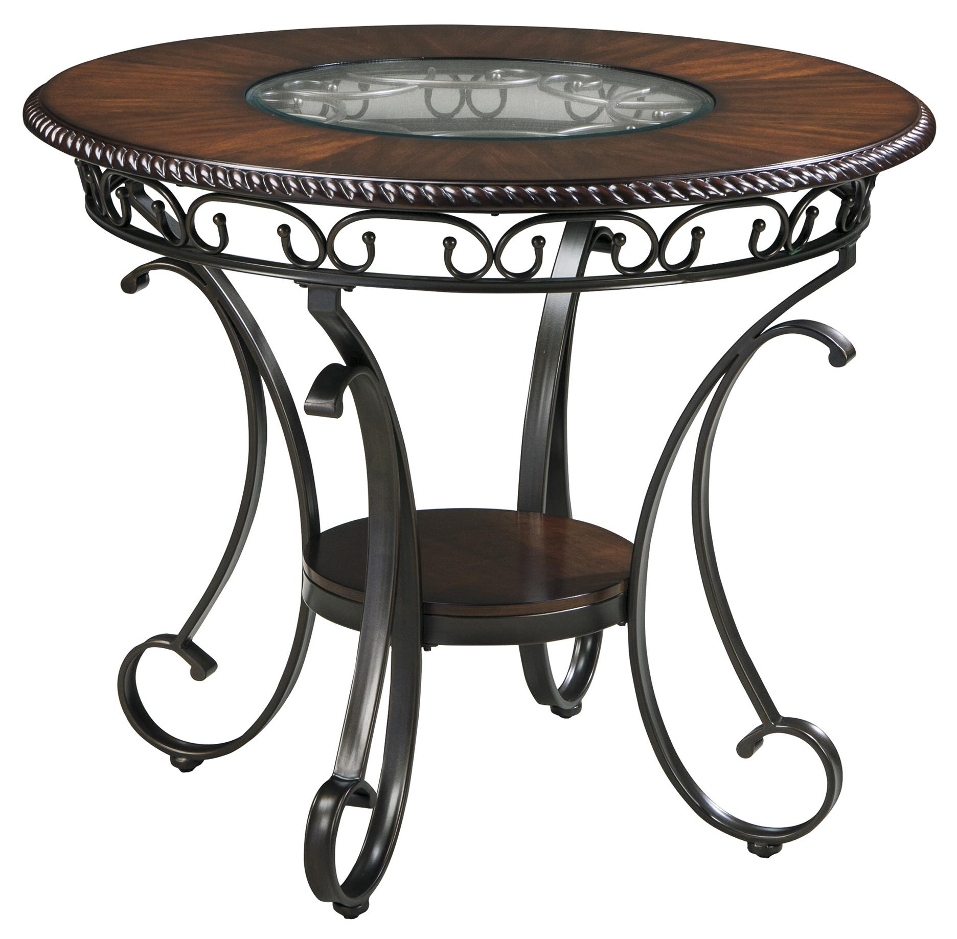 ashley signature design glambrey d329 13 round dining room counter table with metal accents. Black Bedroom Furniture Sets. Home Design Ideas