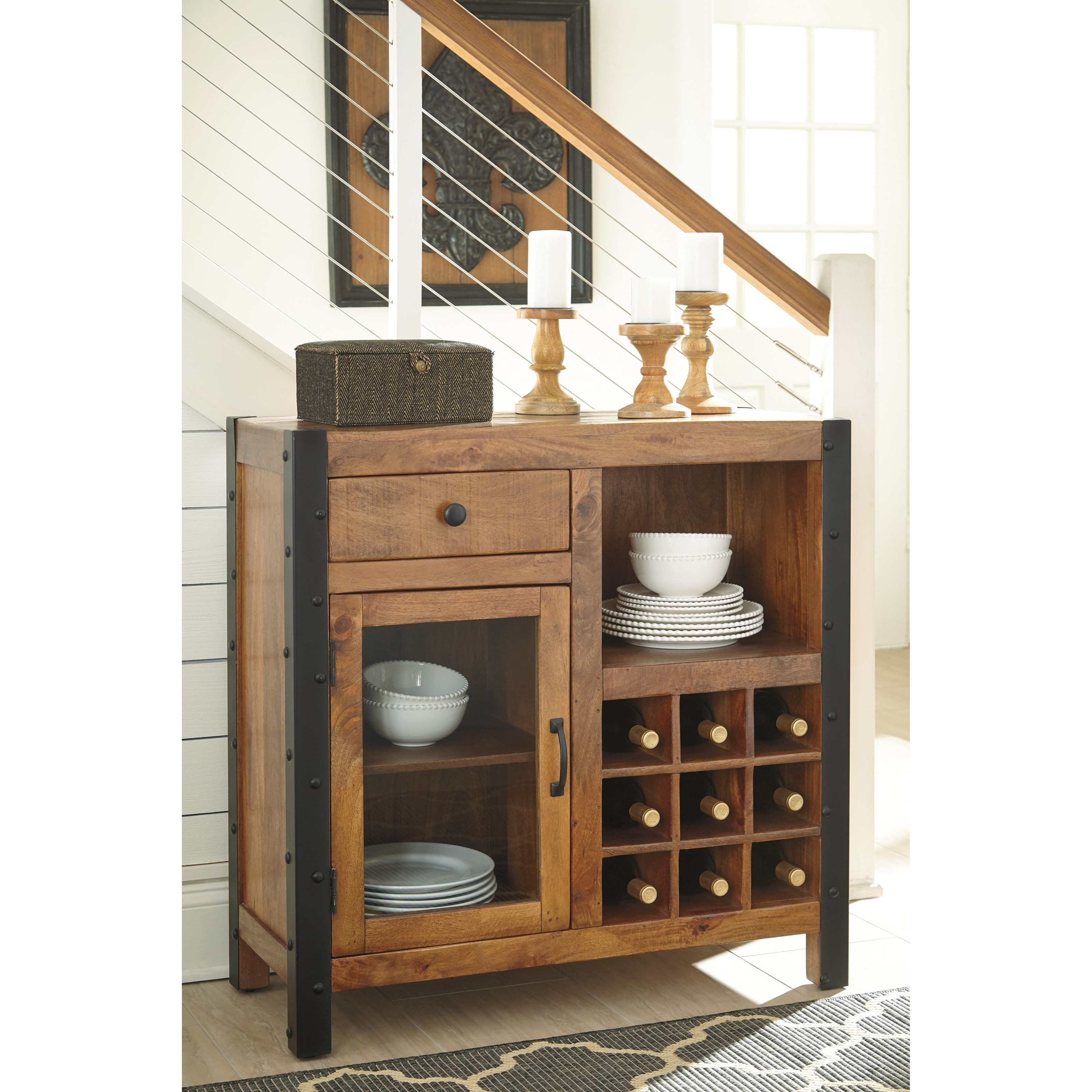 signature design by ashley glosco d548 060 solid wood mango wine cabinet with industrial metal. Black Bedroom Furniture Sets. Home Design Ideas