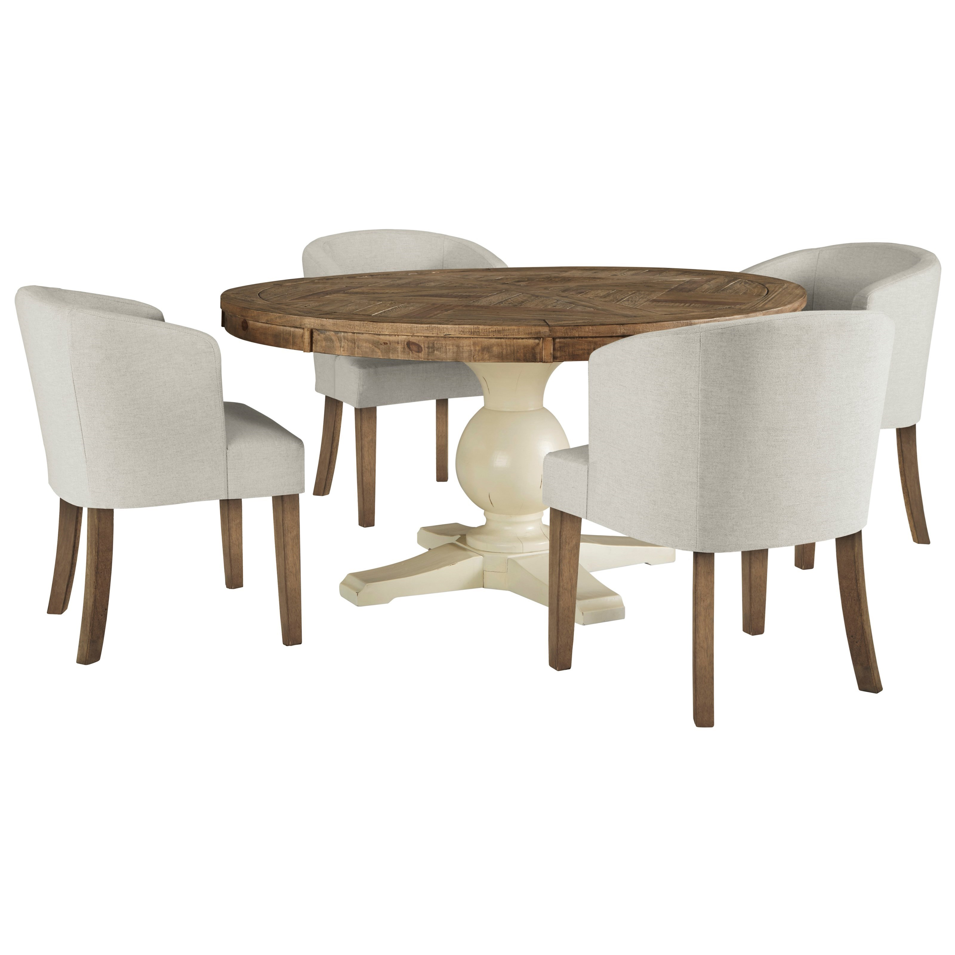 signature design by ashley grindleburg 5 piece round table and chair set royal furniture. Black Bedroom Furniture Sets. Home Design Ideas