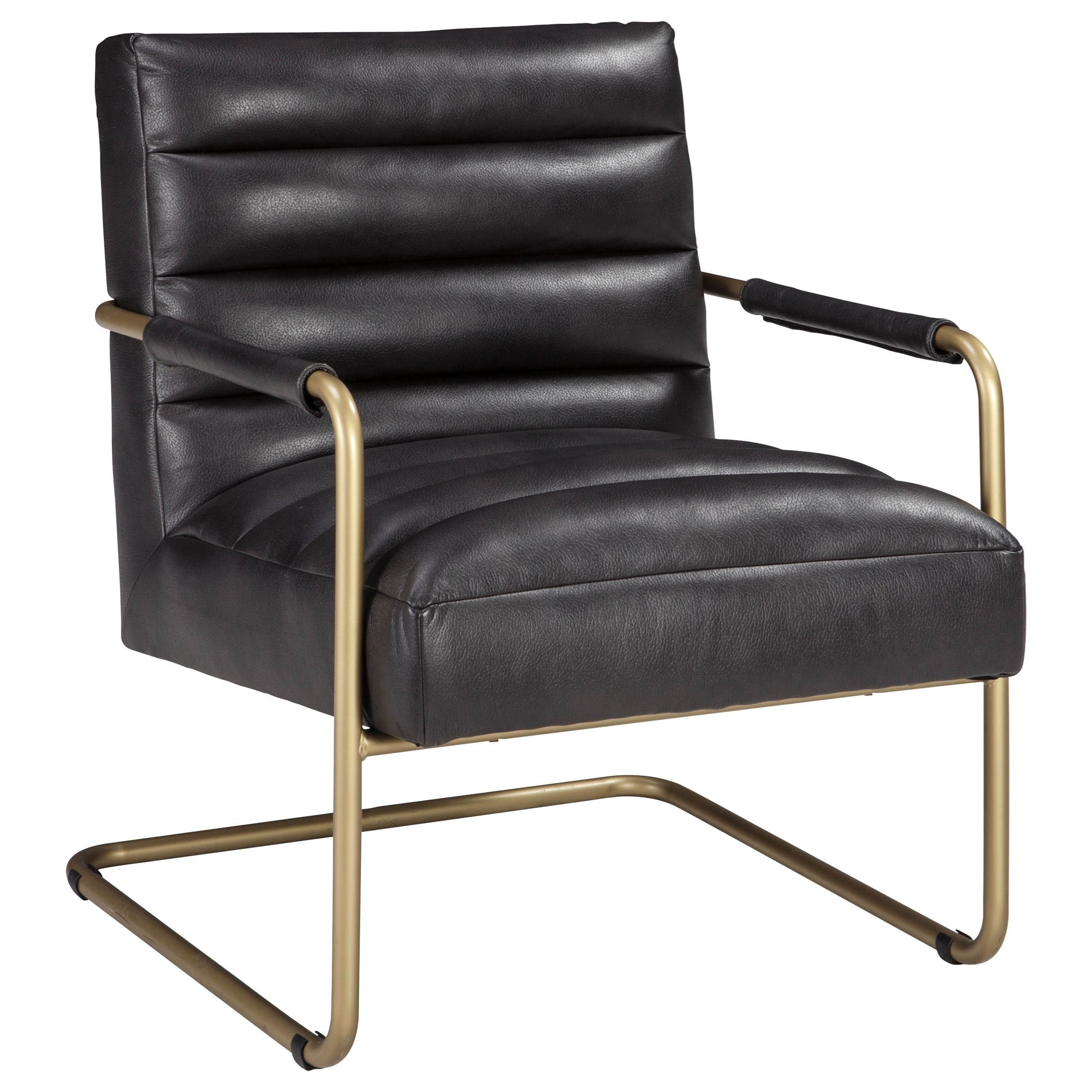 signature design by ashley hackley a3000024 gold finish metal arm accent chair with black faux. Black Bedroom Furniture Sets. Home Design Ideas