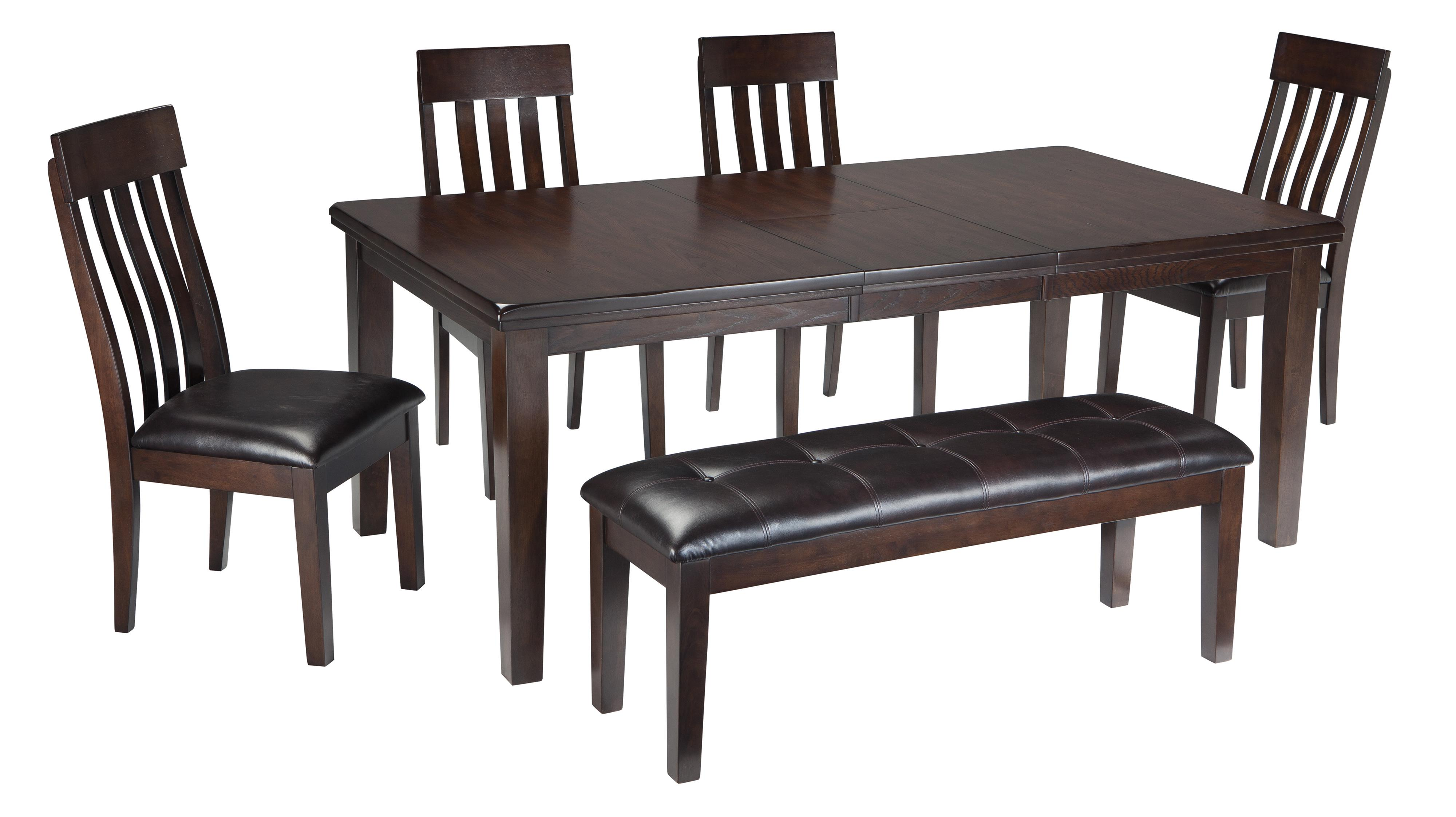 Signature design by ashley haddigan 6 piece rectangular for Table and bench set