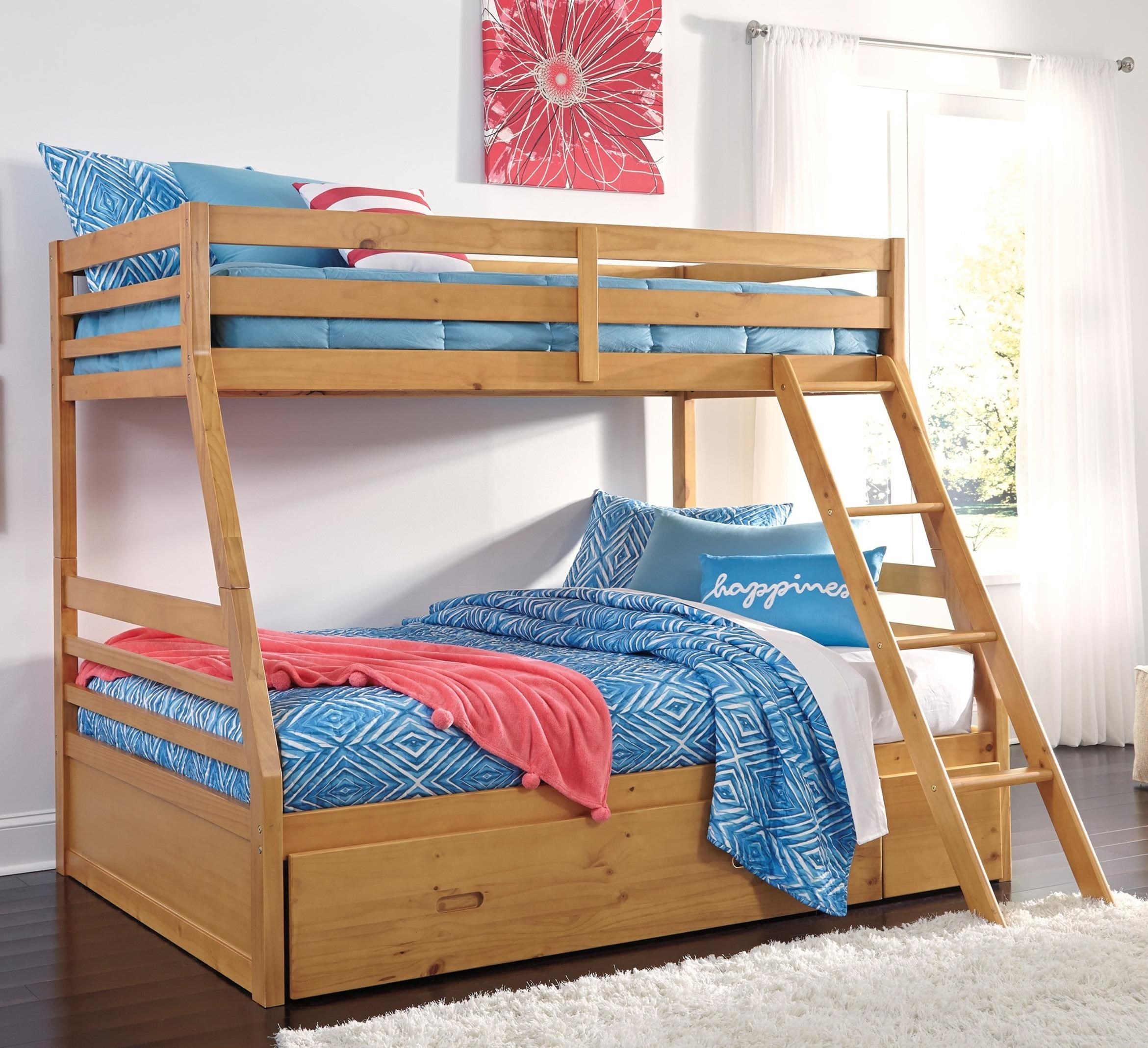 Ashley Signature Design Hallytown Solid Pine Twin Full SaveEnlarge Ridge Bunk Bed With Storage Staircase