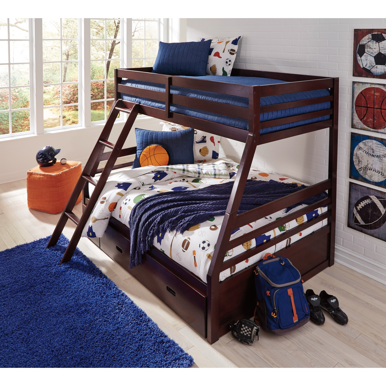 signature design by ashley halanton solid pine twin full bunk bed w under bed storage. Black Bedroom Furniture Sets. Home Design Ideas