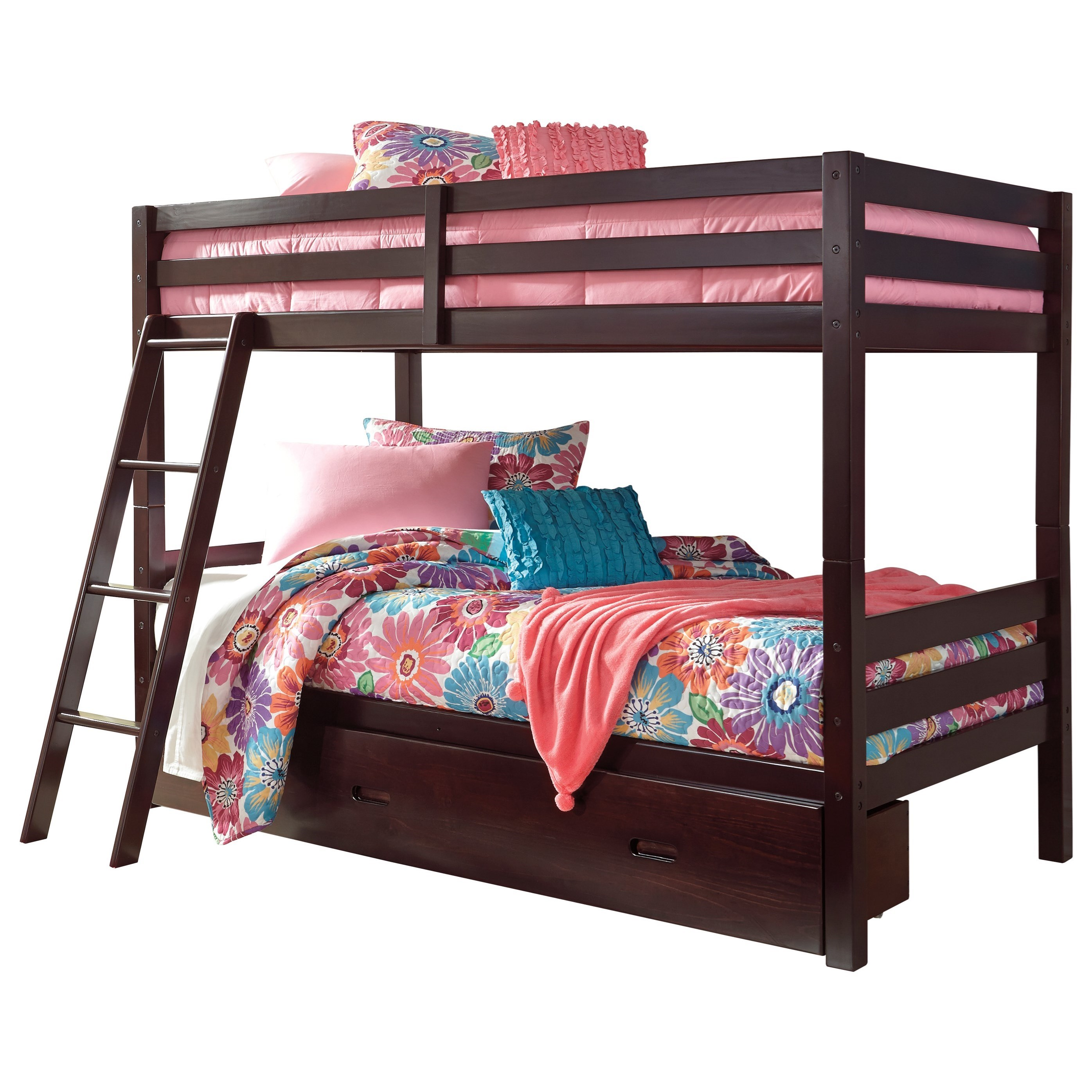 Signature Design By Ashley Halanton Solid Pine Twin Twin Bunk Bed W Under Bed Storage Olinde