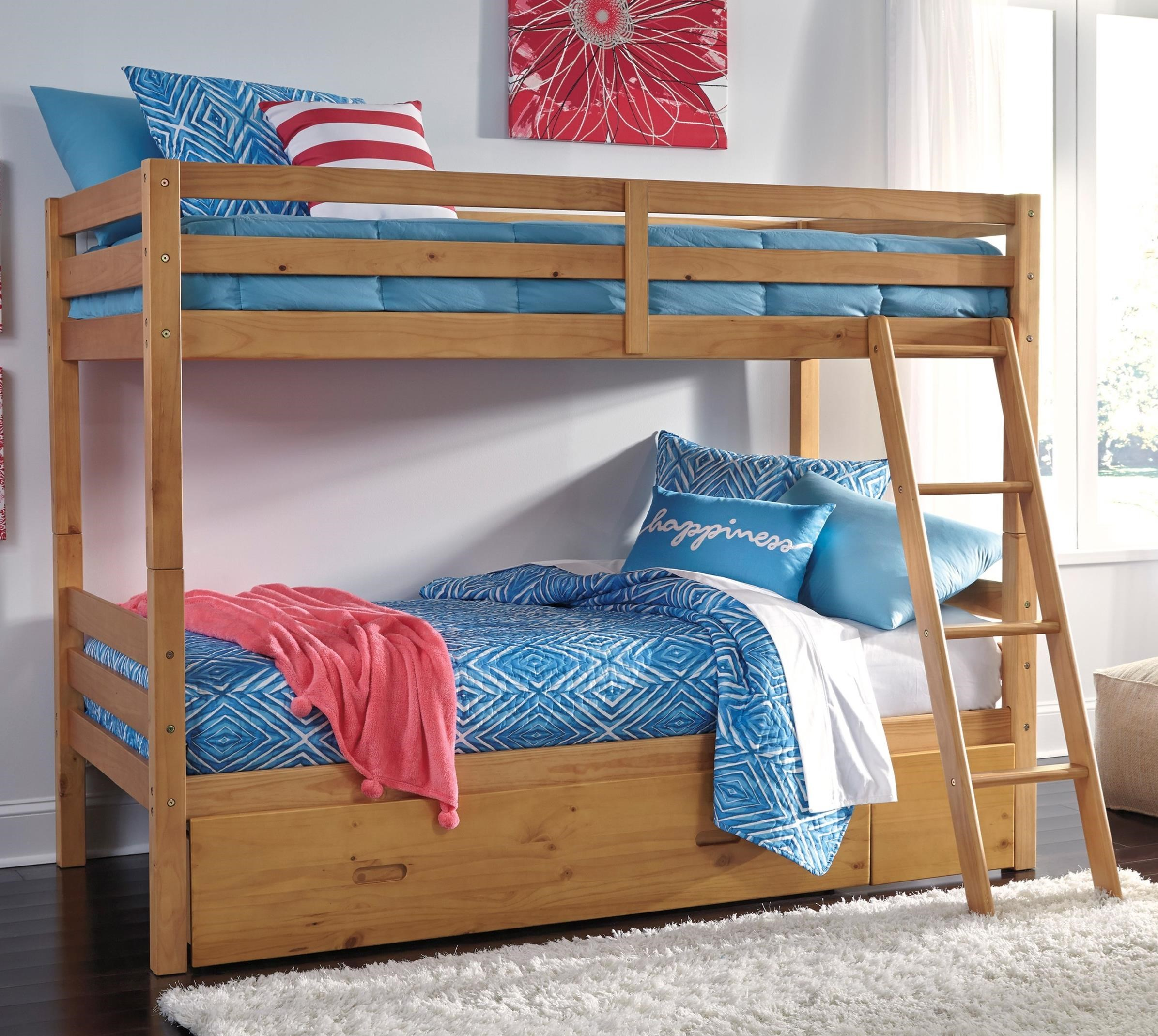 Signature Design By Ashley Hallytown Solid Pine Twin Twin Bunk Bed W Under Bed Storage Value