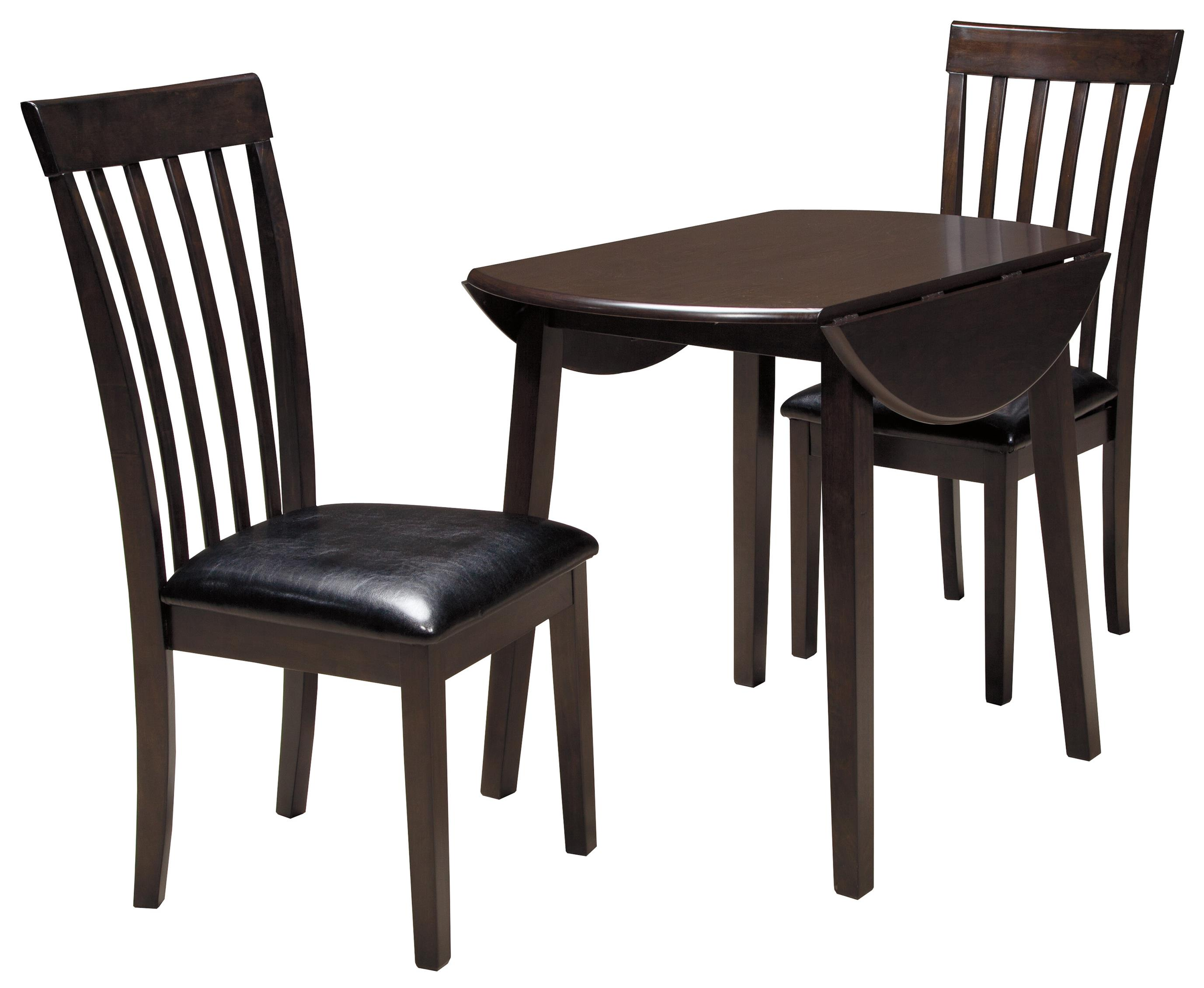 Signature design by ashley hammis 3 piece round drop leaf for Round dining room table sets with leaf