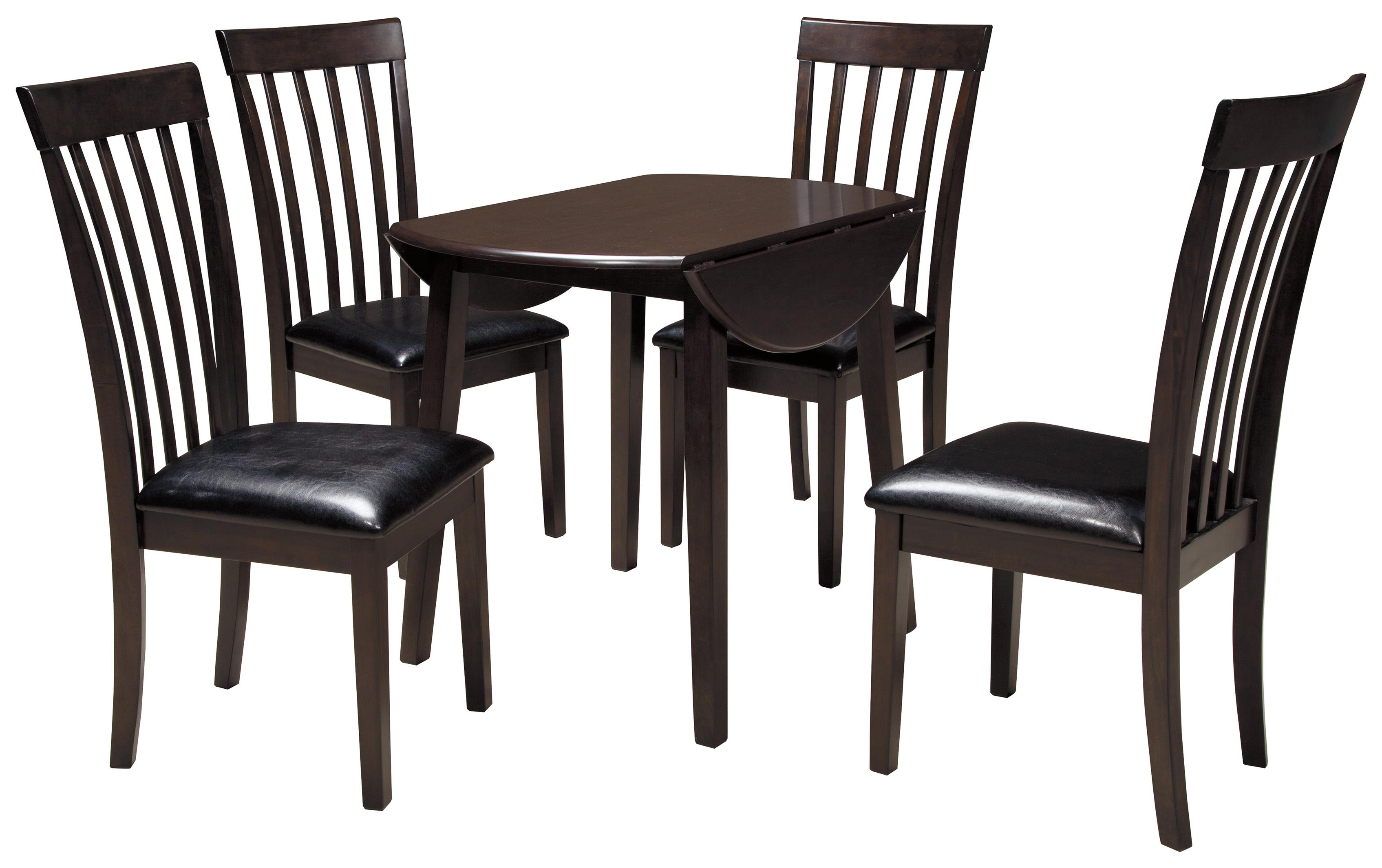 Signature design by ashley hammis 5 piece round drop leaf for Circle dining room table with leaf