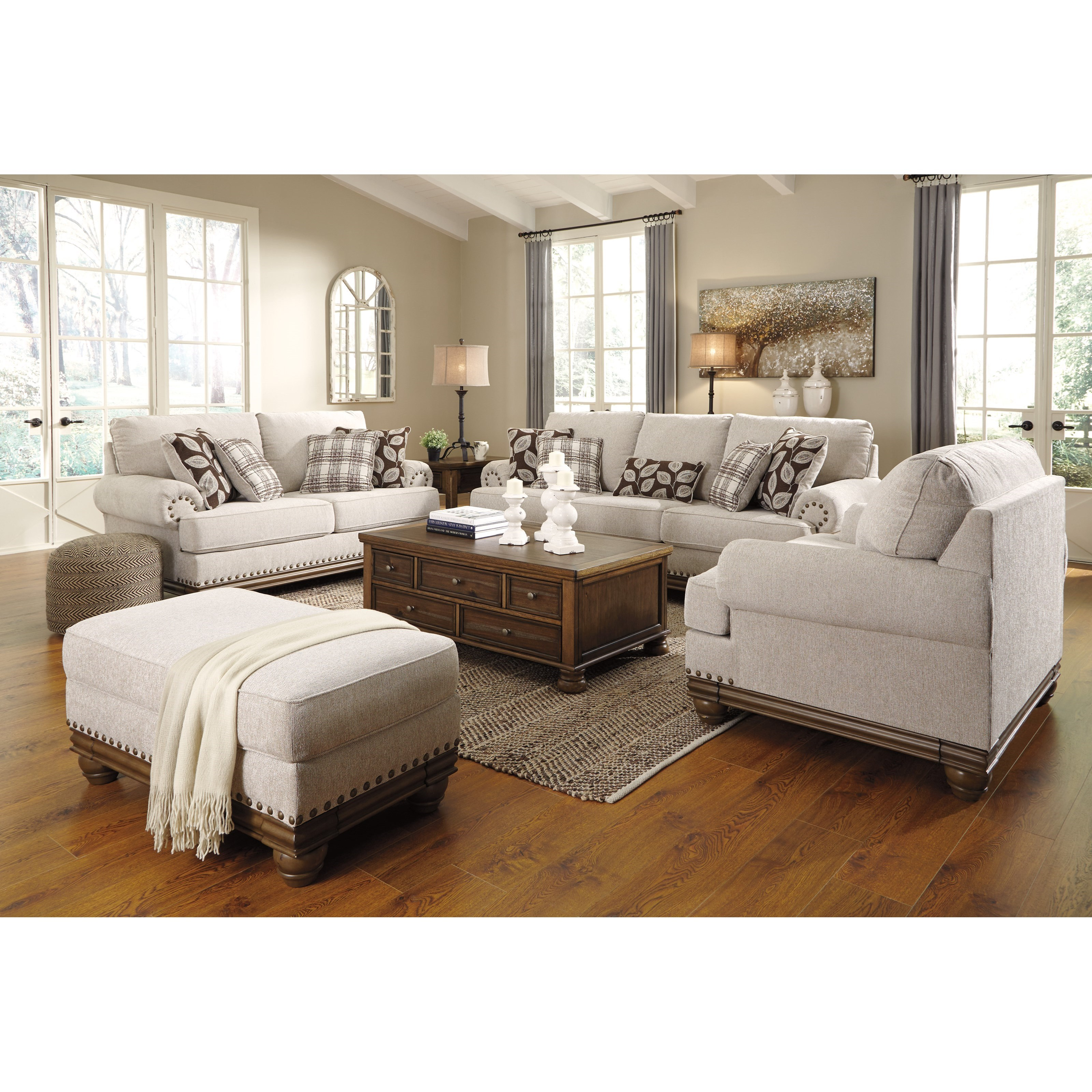 Signature design by ashley harleson stationary living room for Living room furniture groups