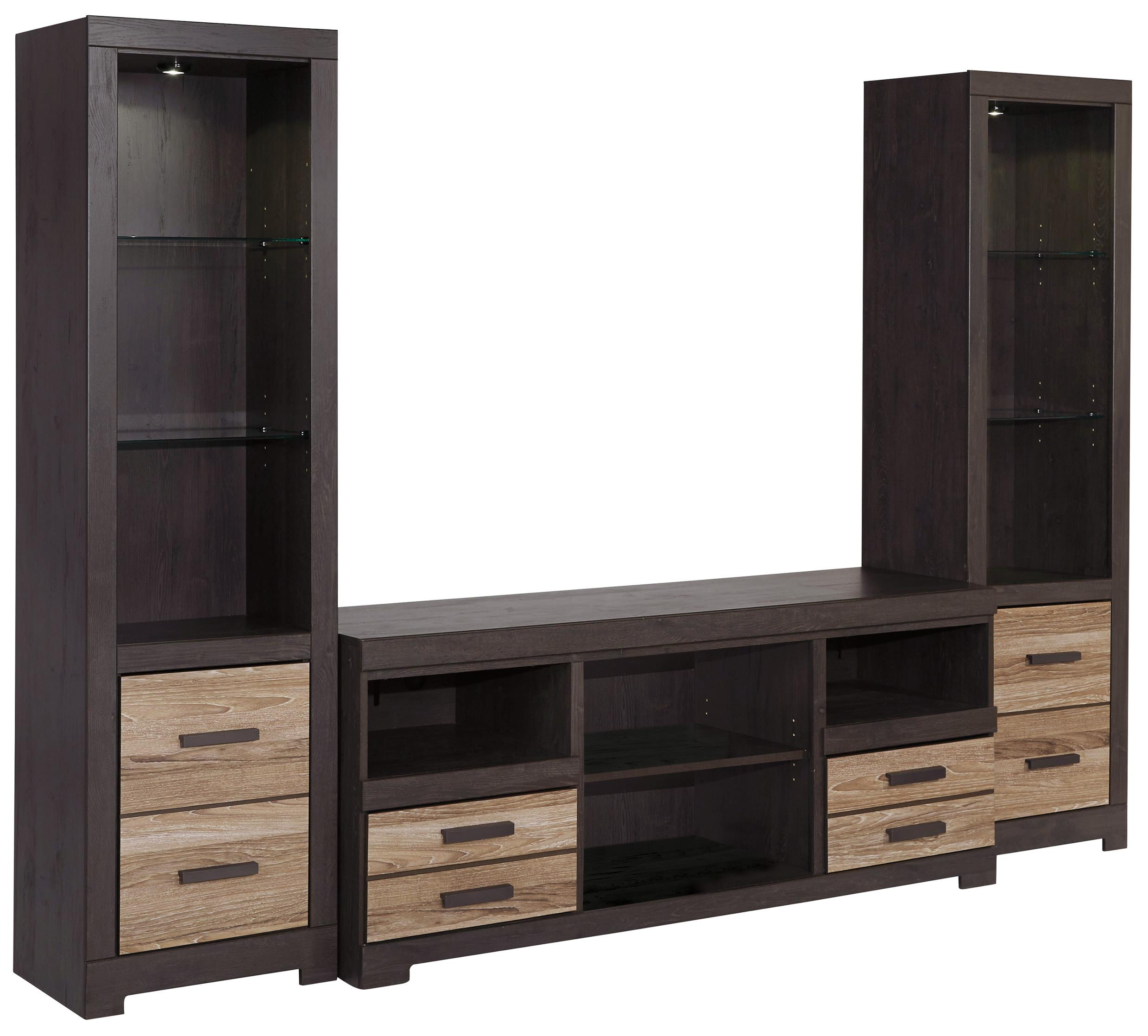 signature design by ashley harlinton large tv stand 2 tall piers rotmans wall unit. Black Bedroom Furniture Sets. Home Design Ideas