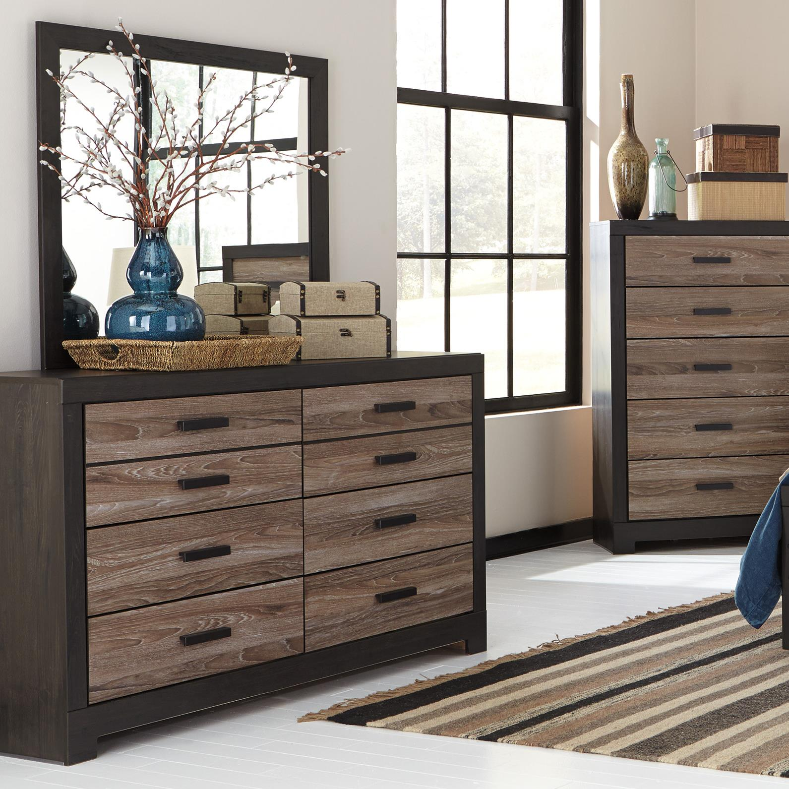 signature design by ashley harlinton rustic two tone dresser bedroom mirror furniture and. Black Bedroom Furniture Sets. Home Design Ideas