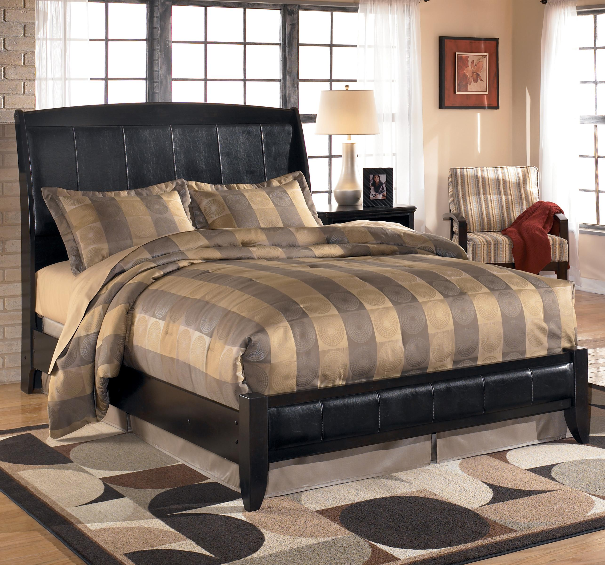 Signature Design By Ashley Harmony King Upholstered Sleigh Headboard With Platform Style