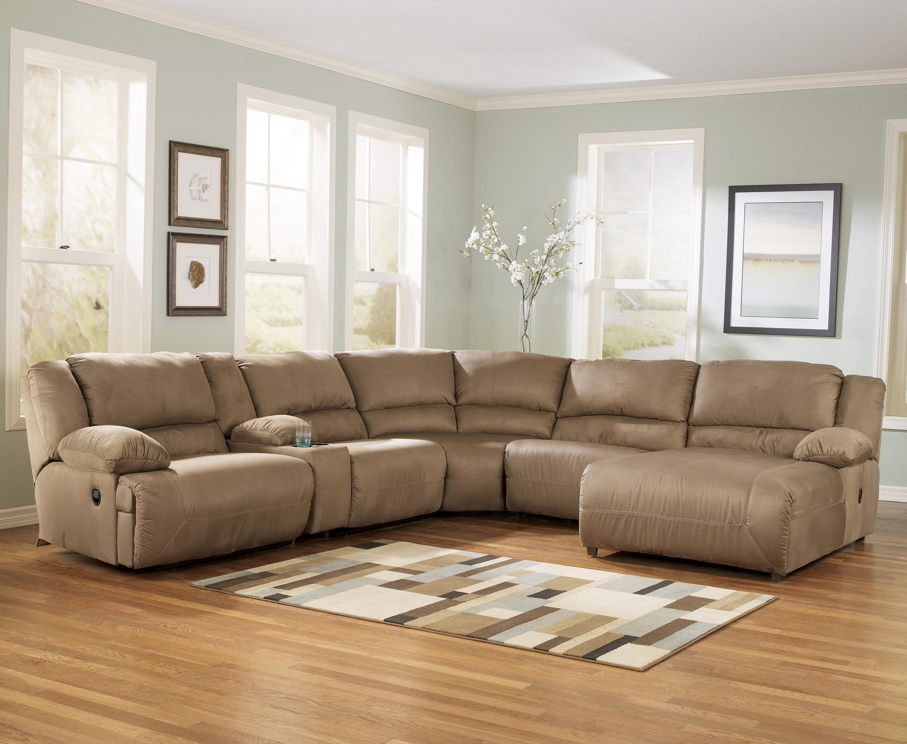 Signature design by ashley hogan mocha 6 piece motion for Sectional sofas by ashley furniture
