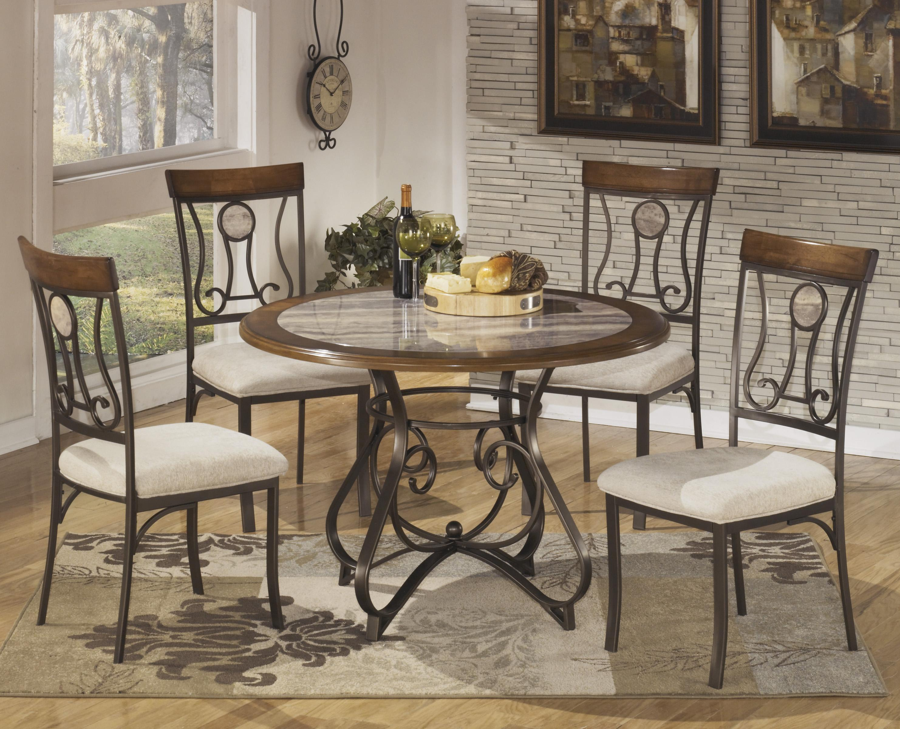 Signature design by ashley hopstand 5 piece round dining for Ashley furniture dinette sets