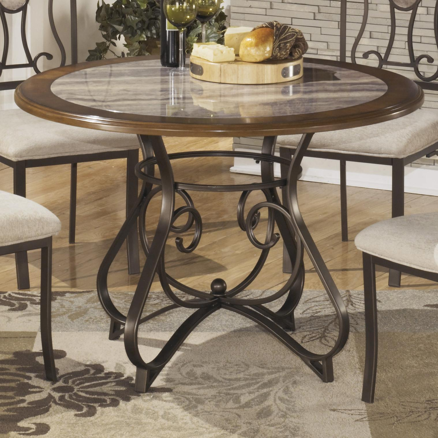 Ashley signature design hopstand round dining room table for Round marble kitchen table