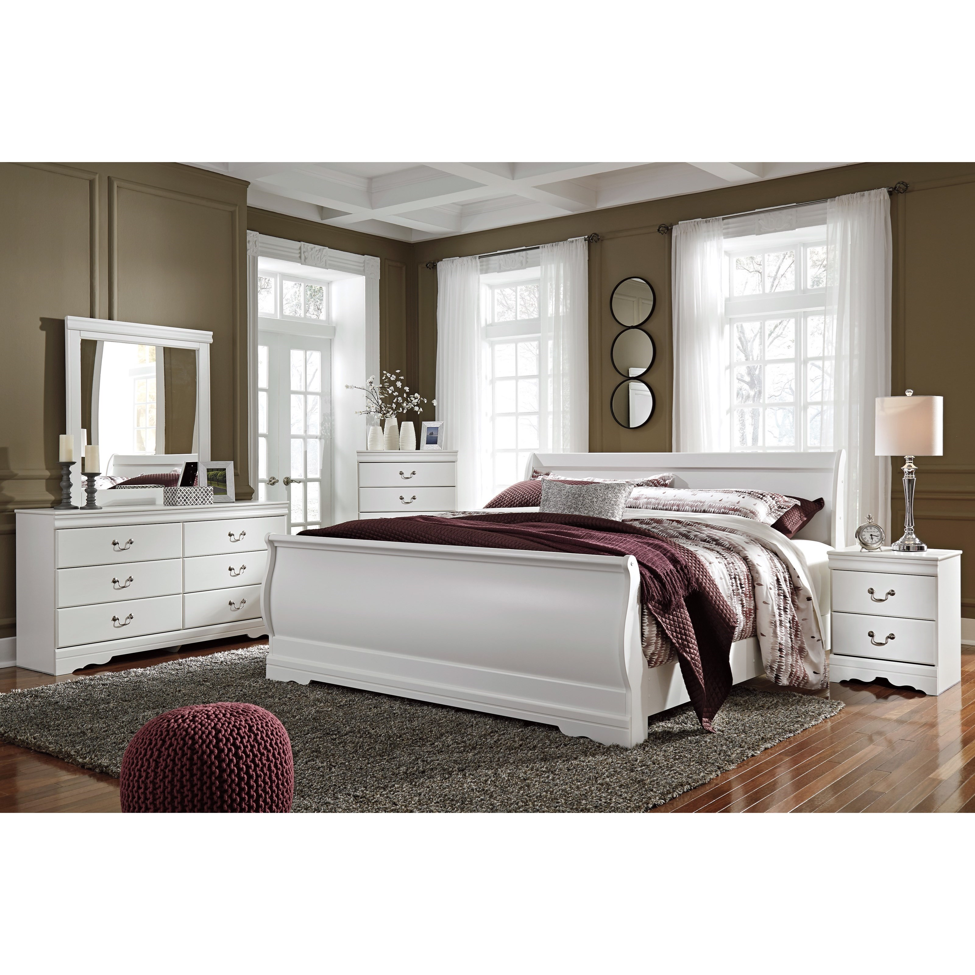 Signature design by ashley anarasia 4 piece king bedroom for Bedroom furniture groups