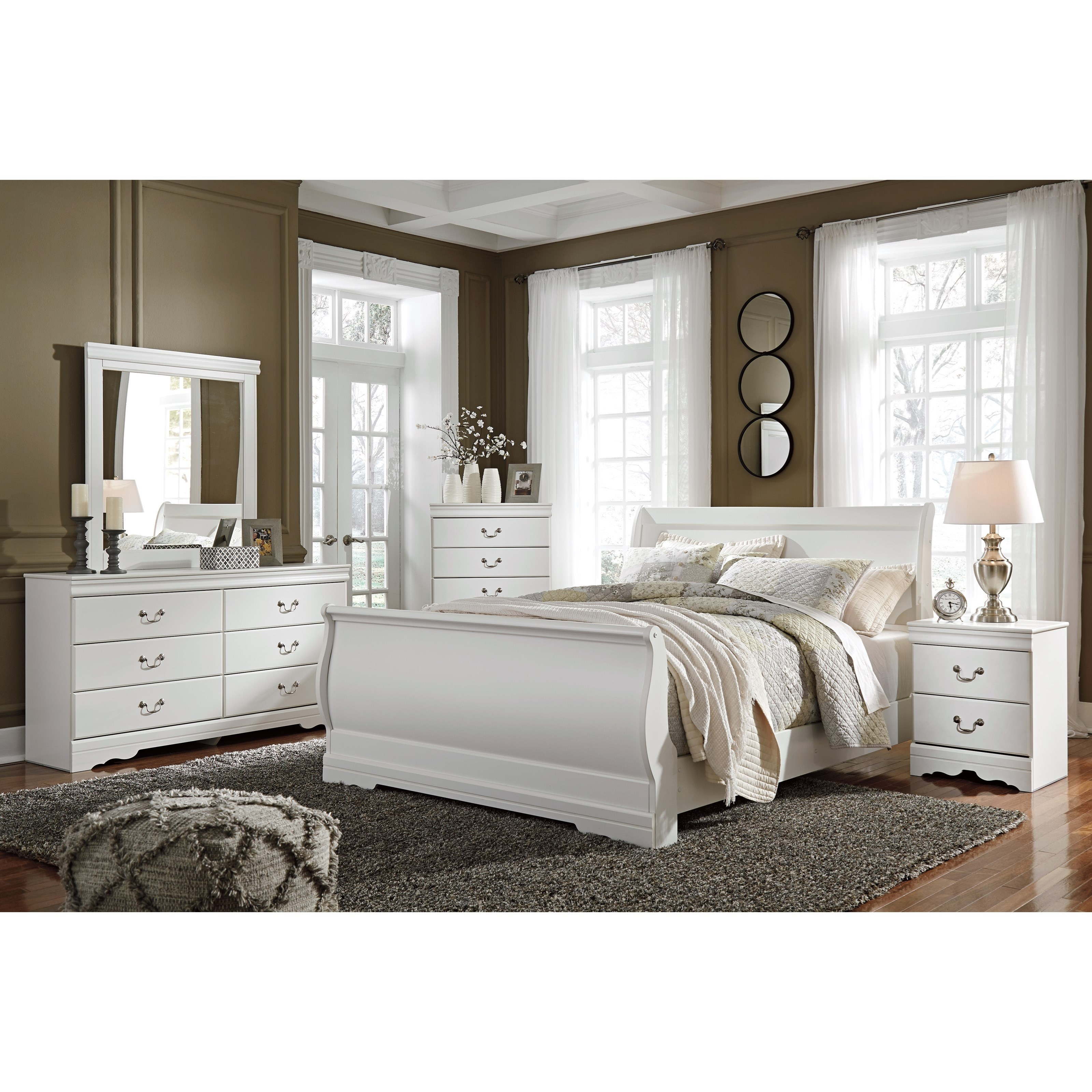 Ashley signature design anarasia 4 piece queen bedroom for Bedroom furniture groups