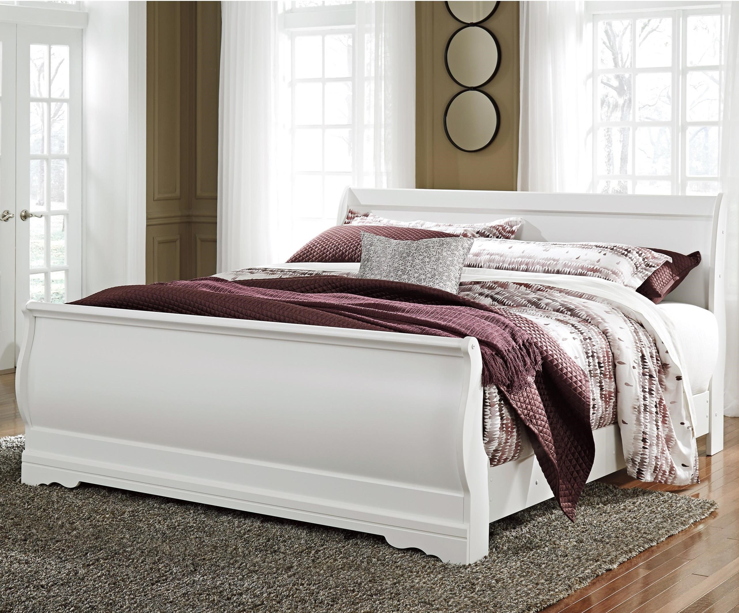 Ashley signature design anarasia king louis philippe sleigh bed dunk bright furniture for Ashley furniture sleigh bedroom set