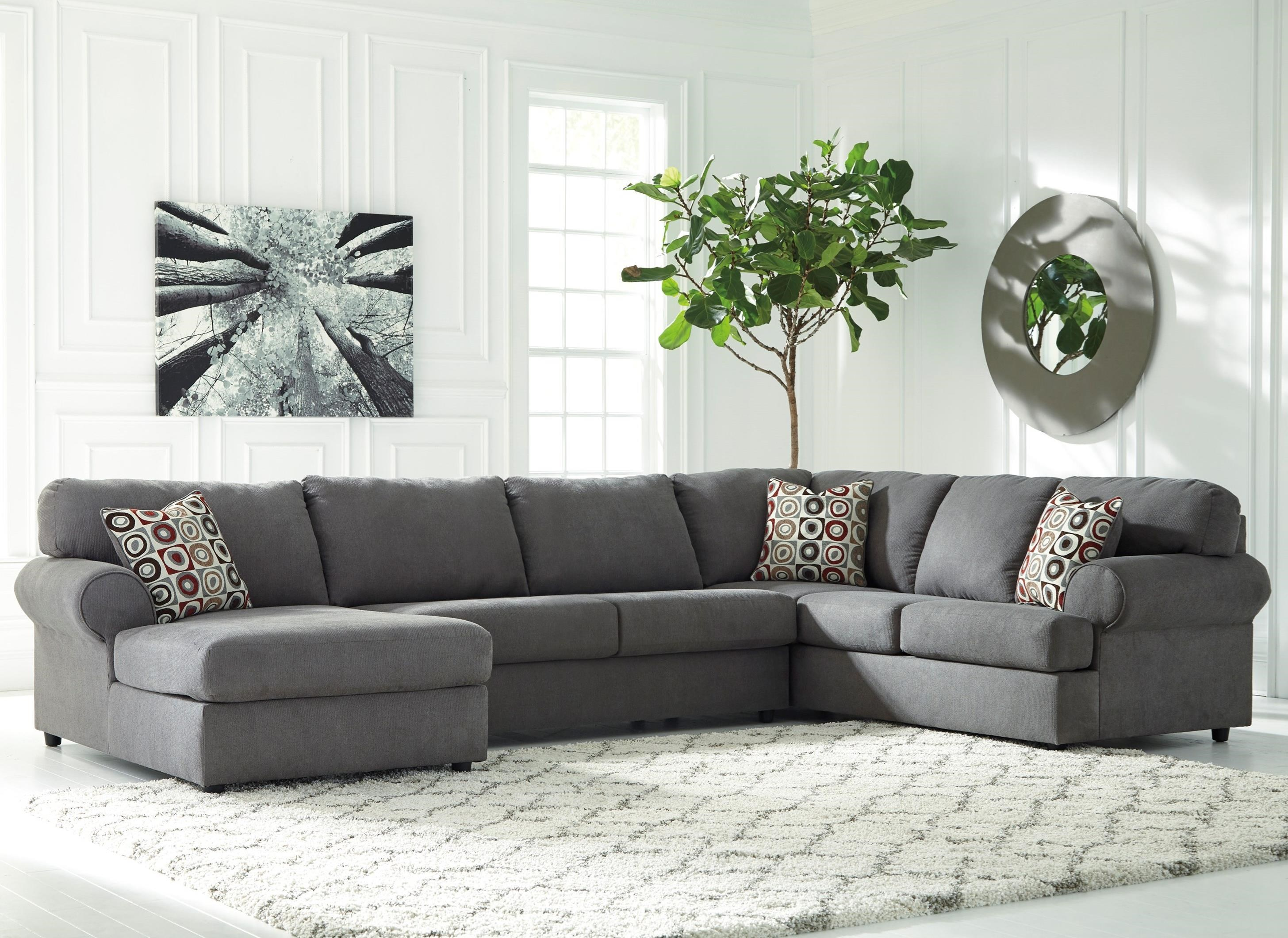 signature design by ashley jayceon 3 piece sectional with left chaise olinde 39 s furniture. Black Bedroom Furniture Sets. Home Design Ideas