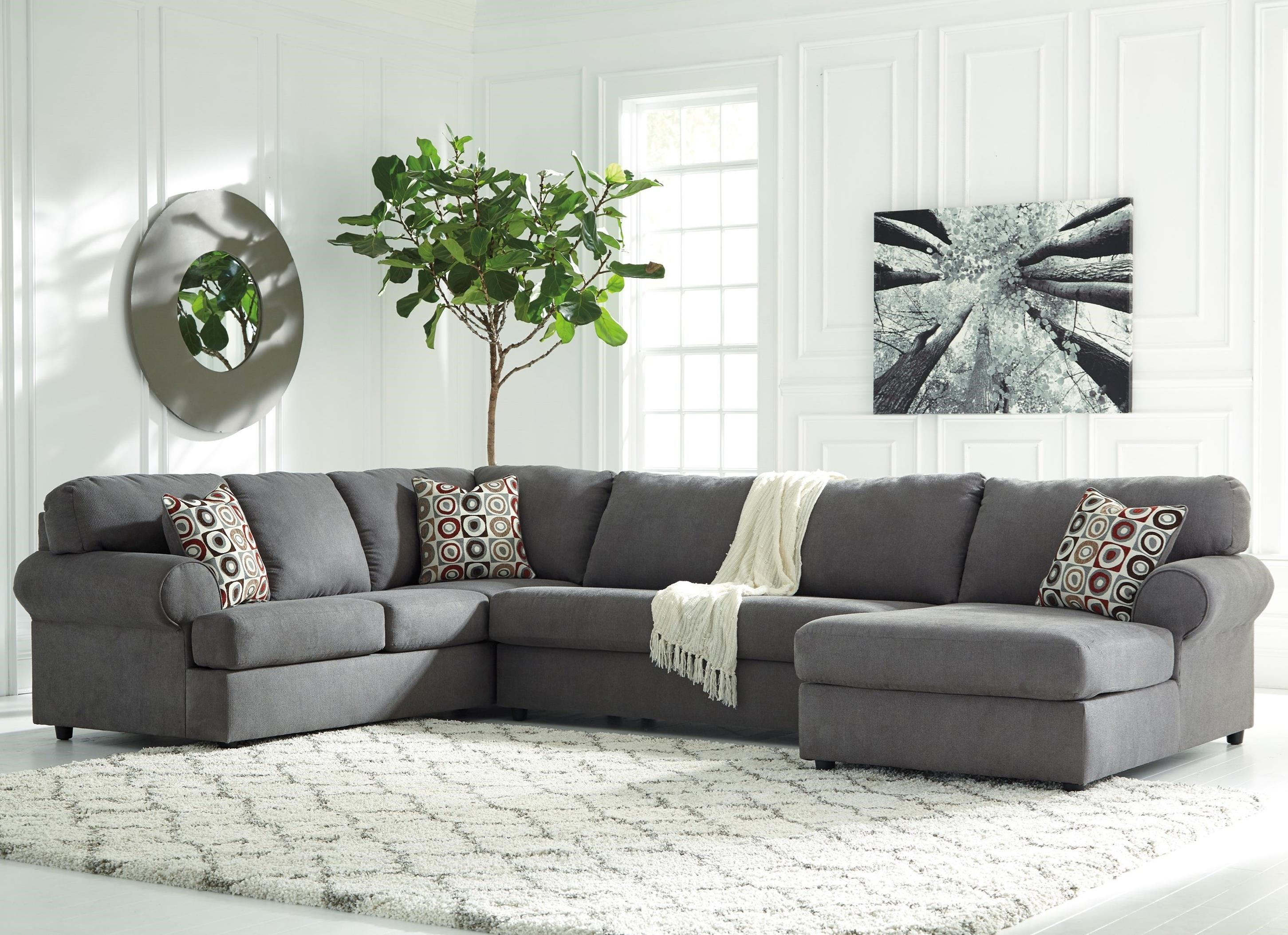 signature design by ashley jayceon 3 piece sectional with right chaise olinde 39 s furniture. Black Bedroom Furniture Sets. Home Design Ideas