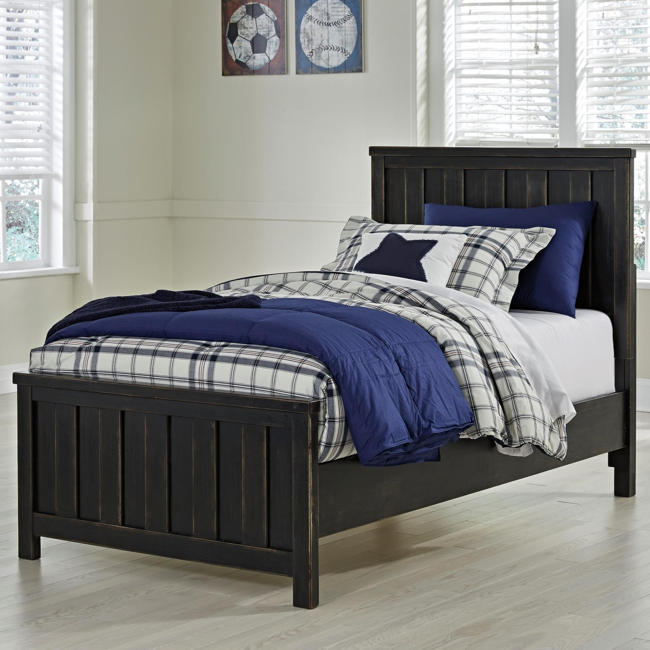 Signature Design By Ashley Jaysom Twin Panel Bed In Rub Through Black Finish Del Sol Furniture