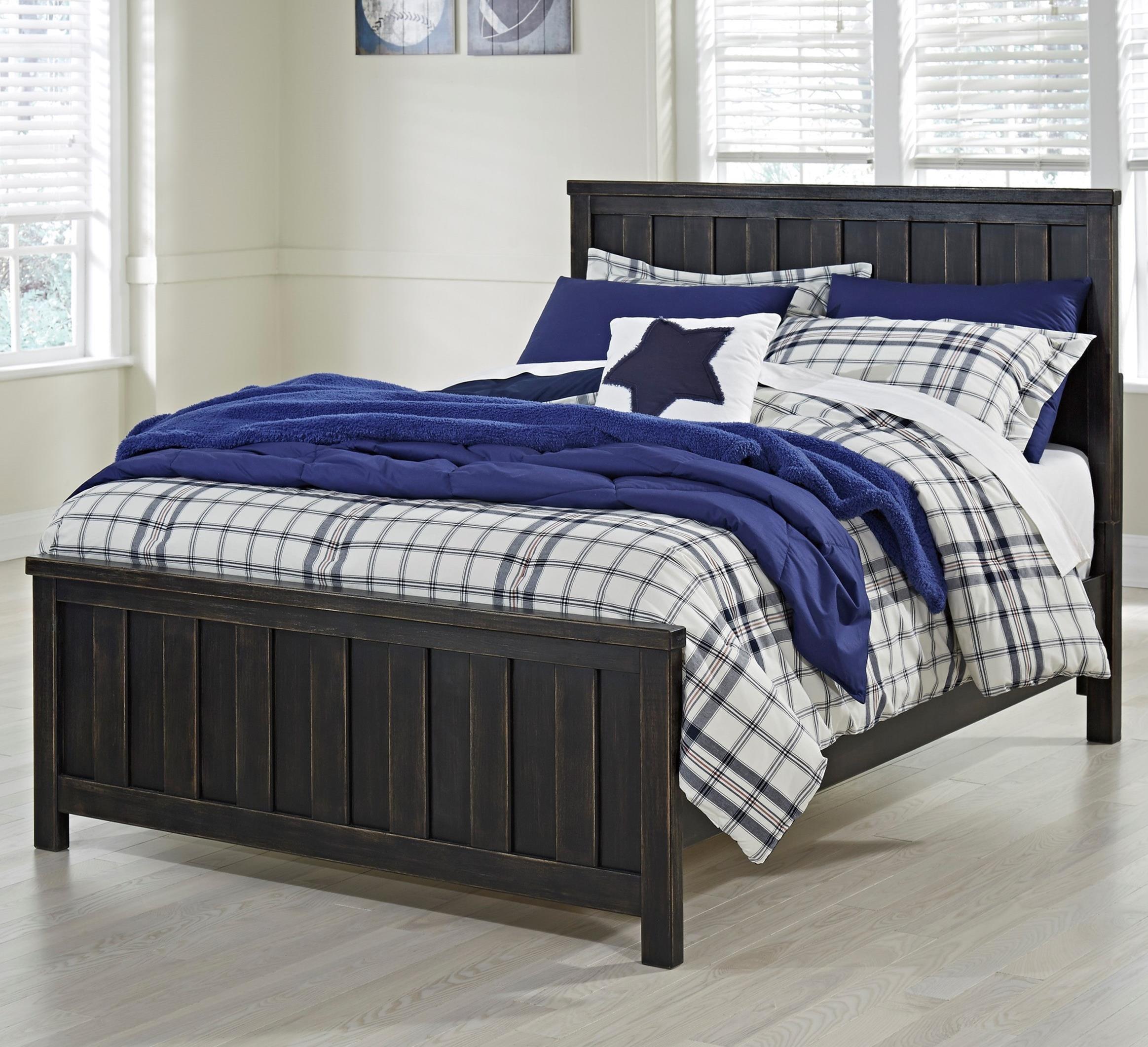 Ashley Signature Design Jaysom Full Panel Bed In Rub Through Black Finish Dunk Bright