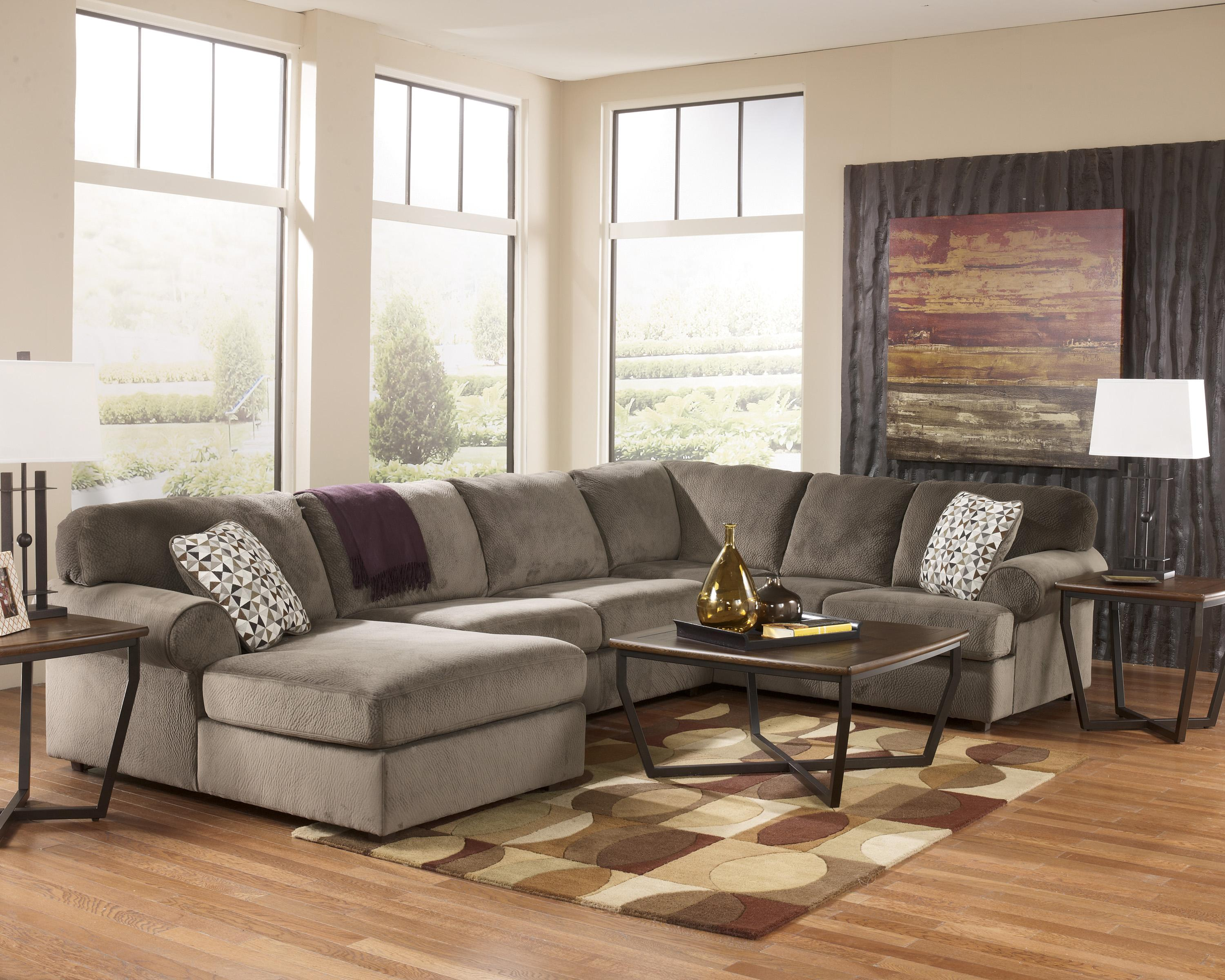 Benchcraft jessa place dune casual sectional sofa with for Chaise 2 places