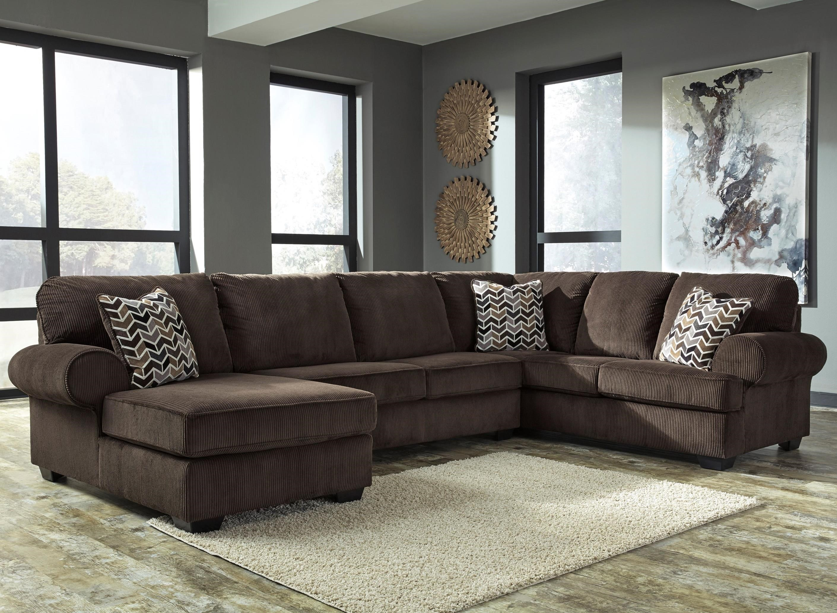 Signature design by ashley jinllingsly 3 piece sectional - Apartment sofa with chaise ...