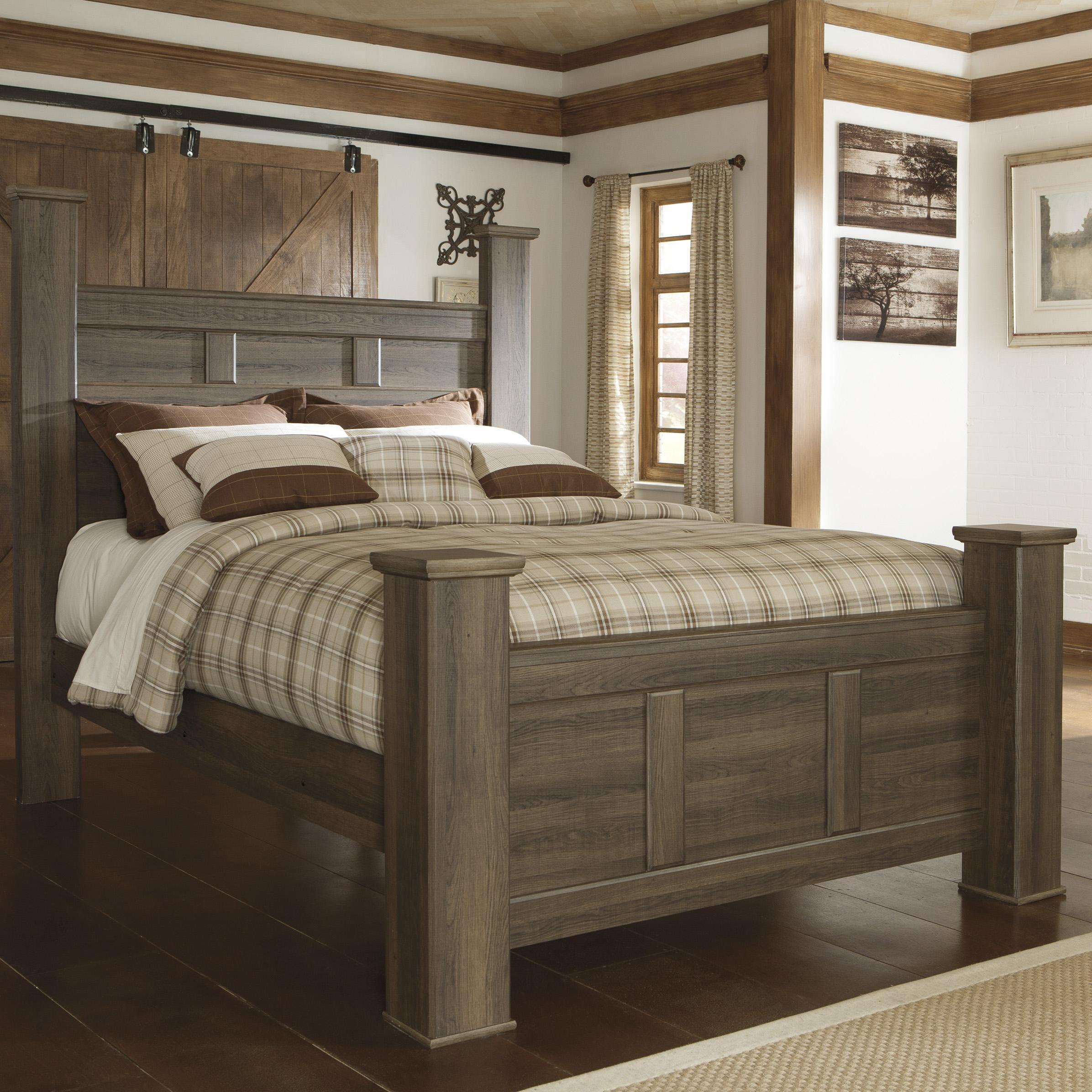 signature design by ashley juararo transitional queen poster bed del sol furniture poster beds. Black Bedroom Furniture Sets. Home Design Ideas