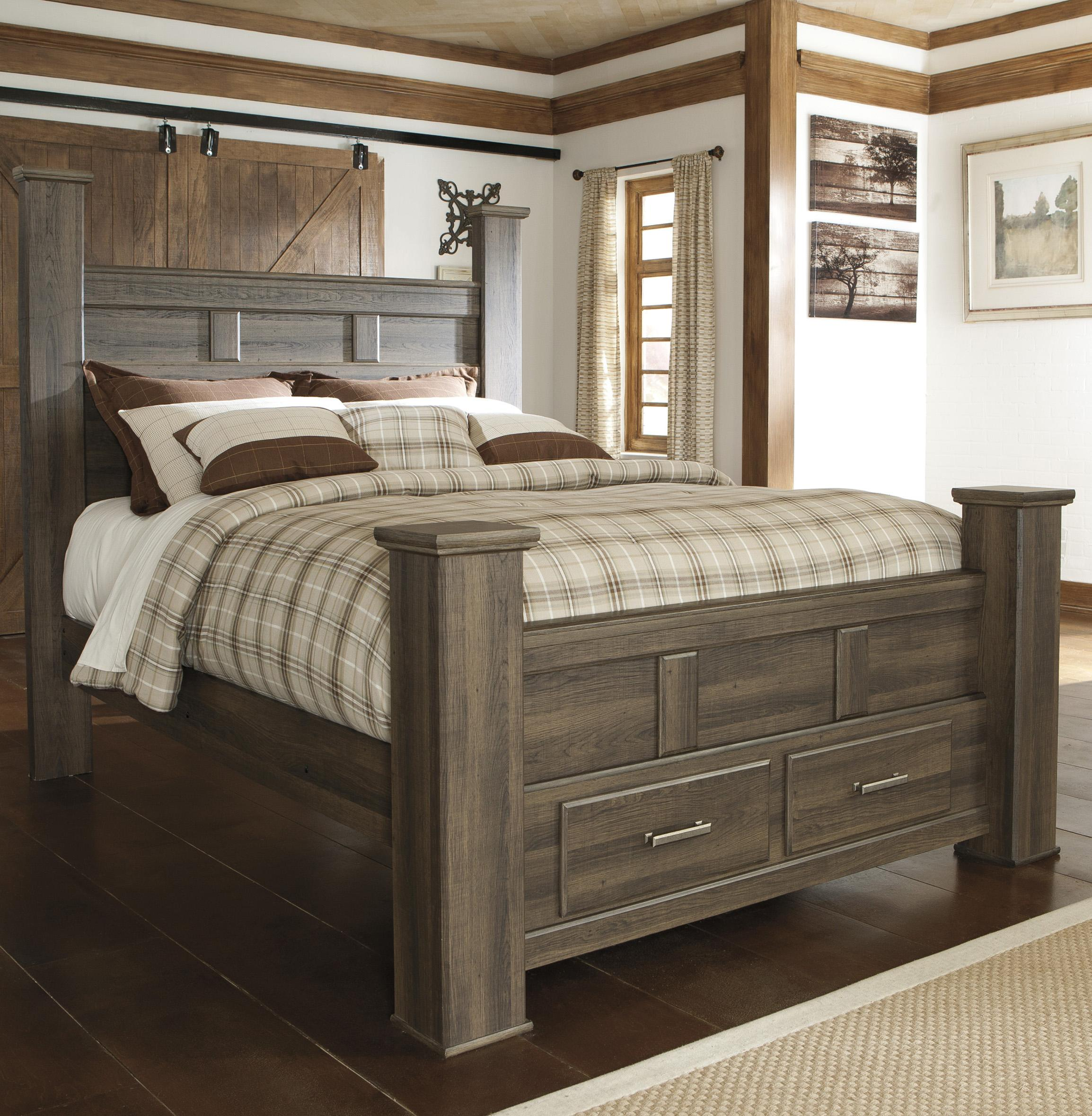 Signature Design By Ashley Juararo Transitional Queen Poster Bed With Footboard Storage Del