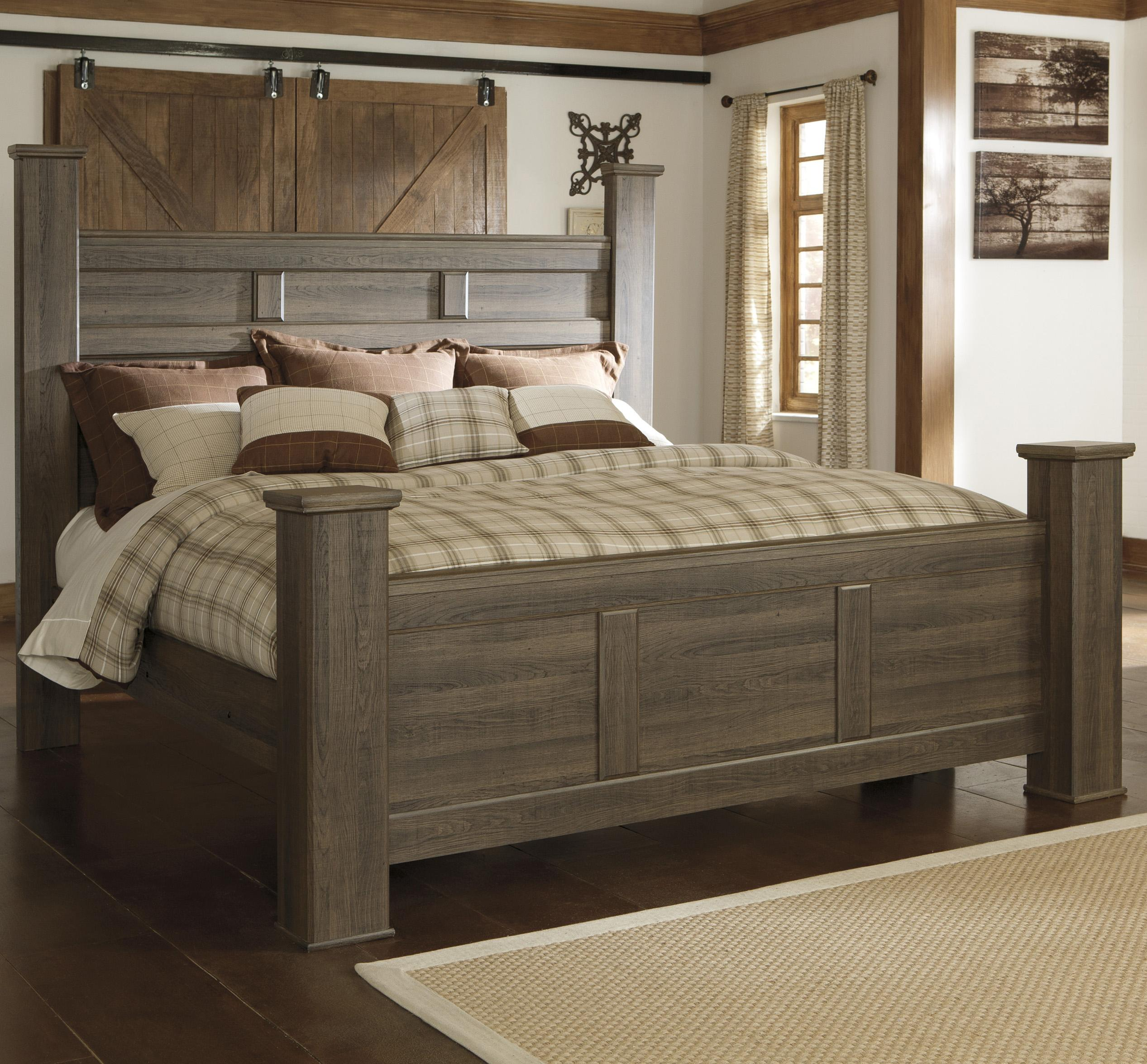 Signature Design By Ashley Juararo Transitional King Poster Bed Del Sol Furniture Poster Beds