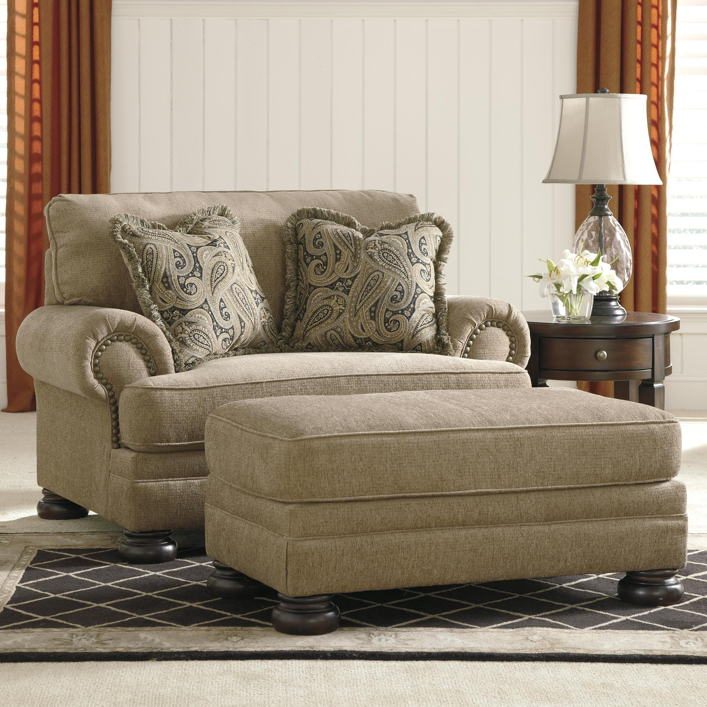 Ashley signature design keereel sand transitional chair for Oversized living room chair