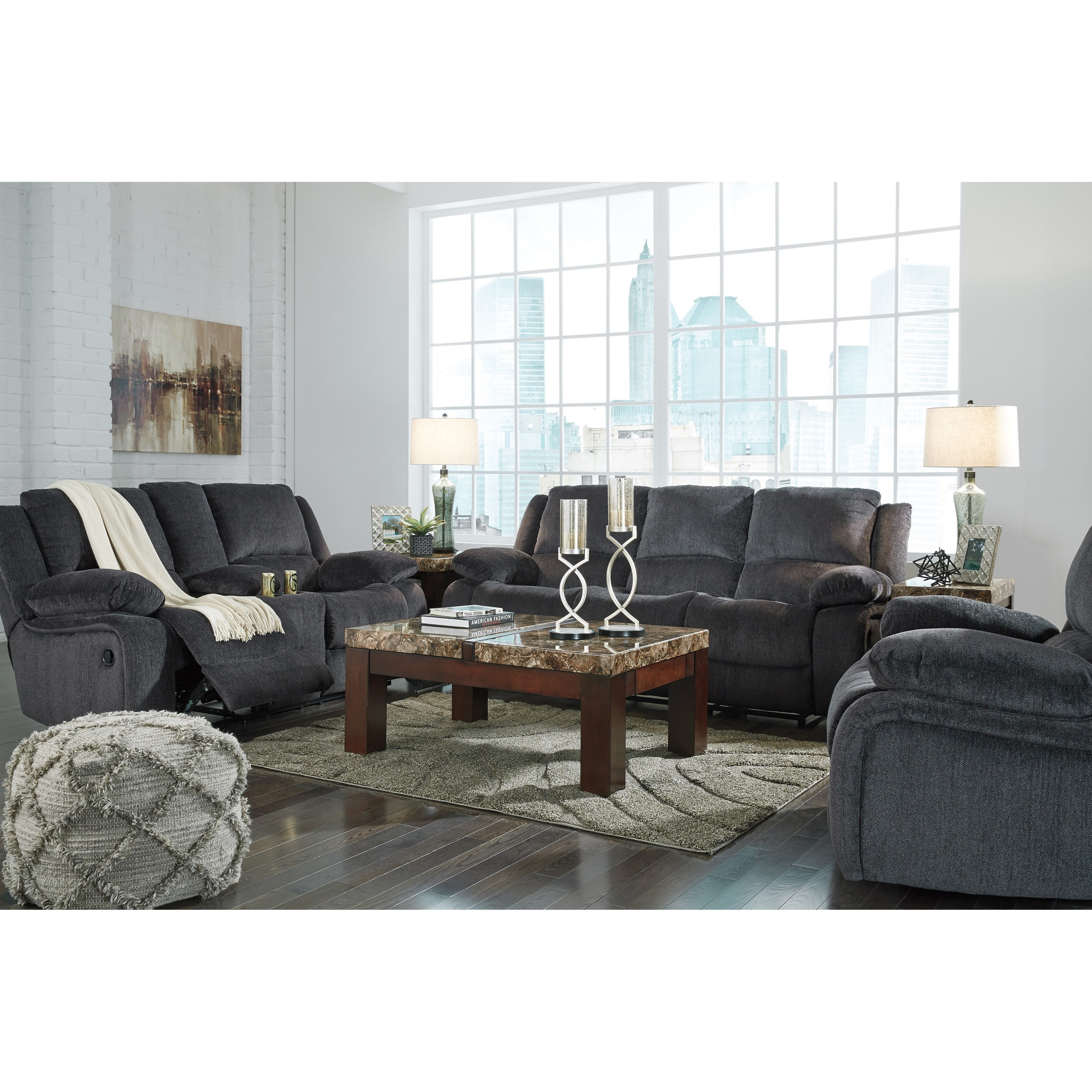 Signature design by ashley kellerhause reclining living for Living room furniture groups