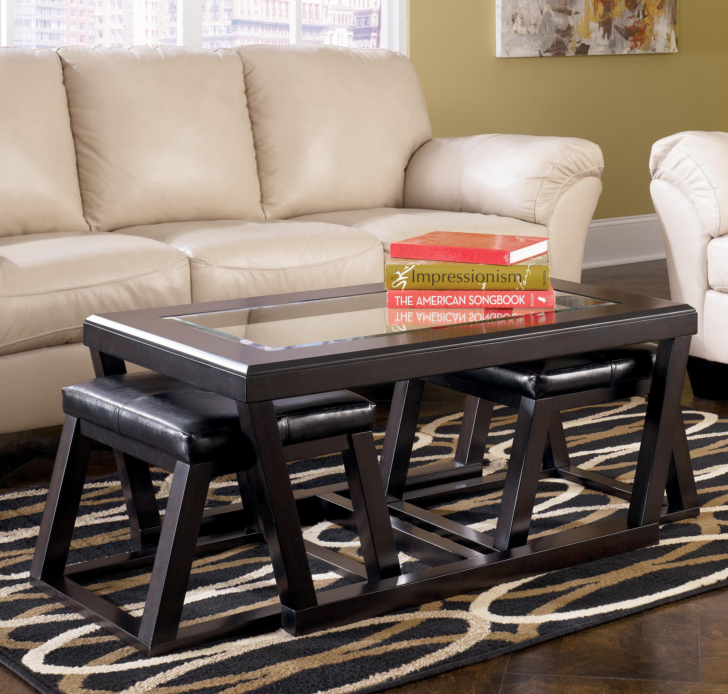signature design by ashley kelton rectangular cocktail table w faux leather ottoman pair. Black Bedroom Furniture Sets. Home Design Ideas