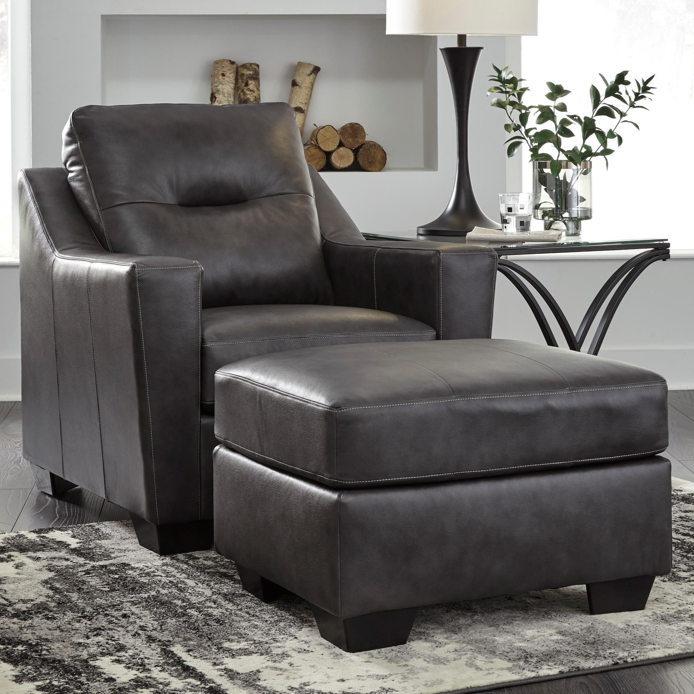 Signature Design By Ashley Kensbridge Leather Match Contemporary Chair Ottoman Rife 39 S Home