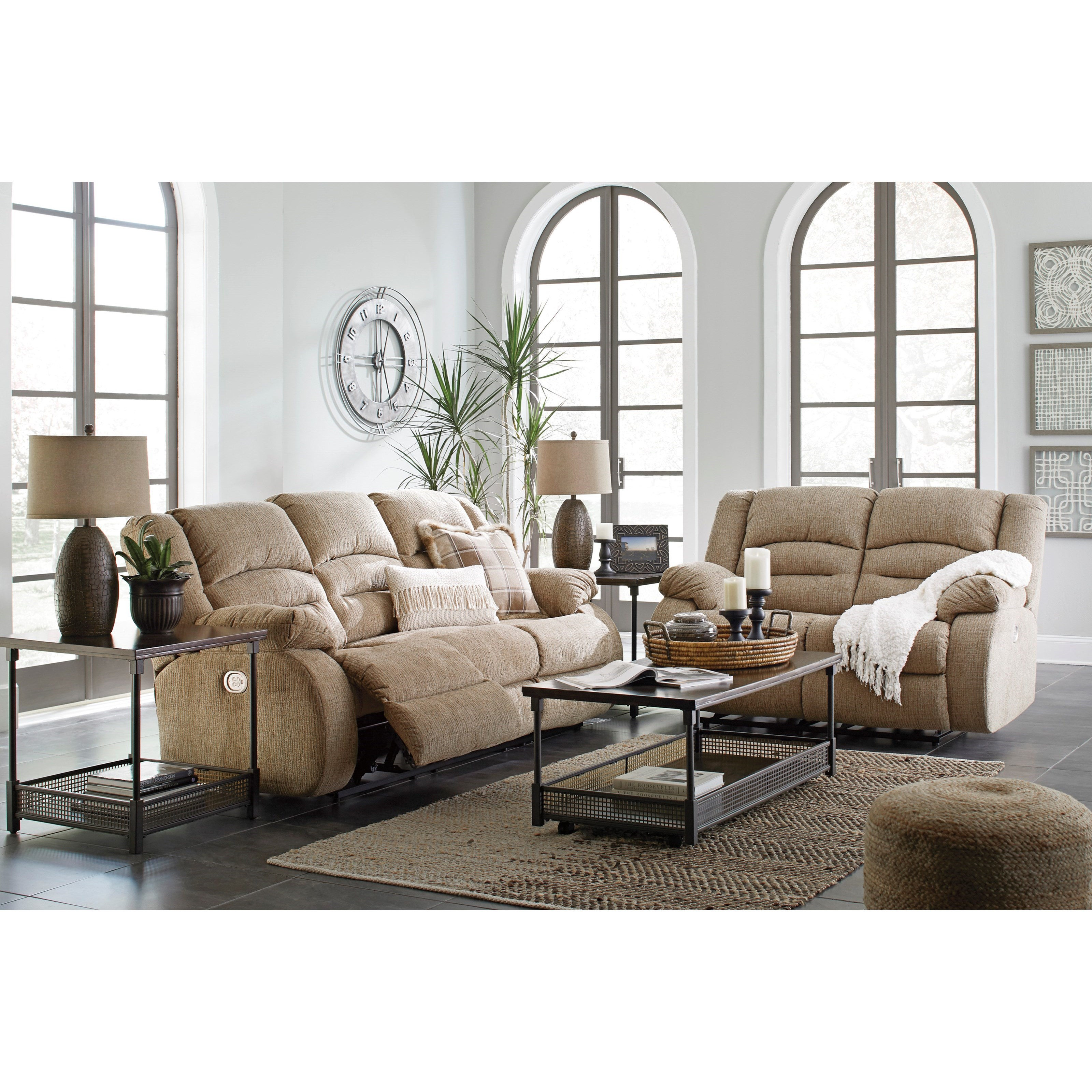 Signature design by ashley labarre reclining living room for Living room furniture groups