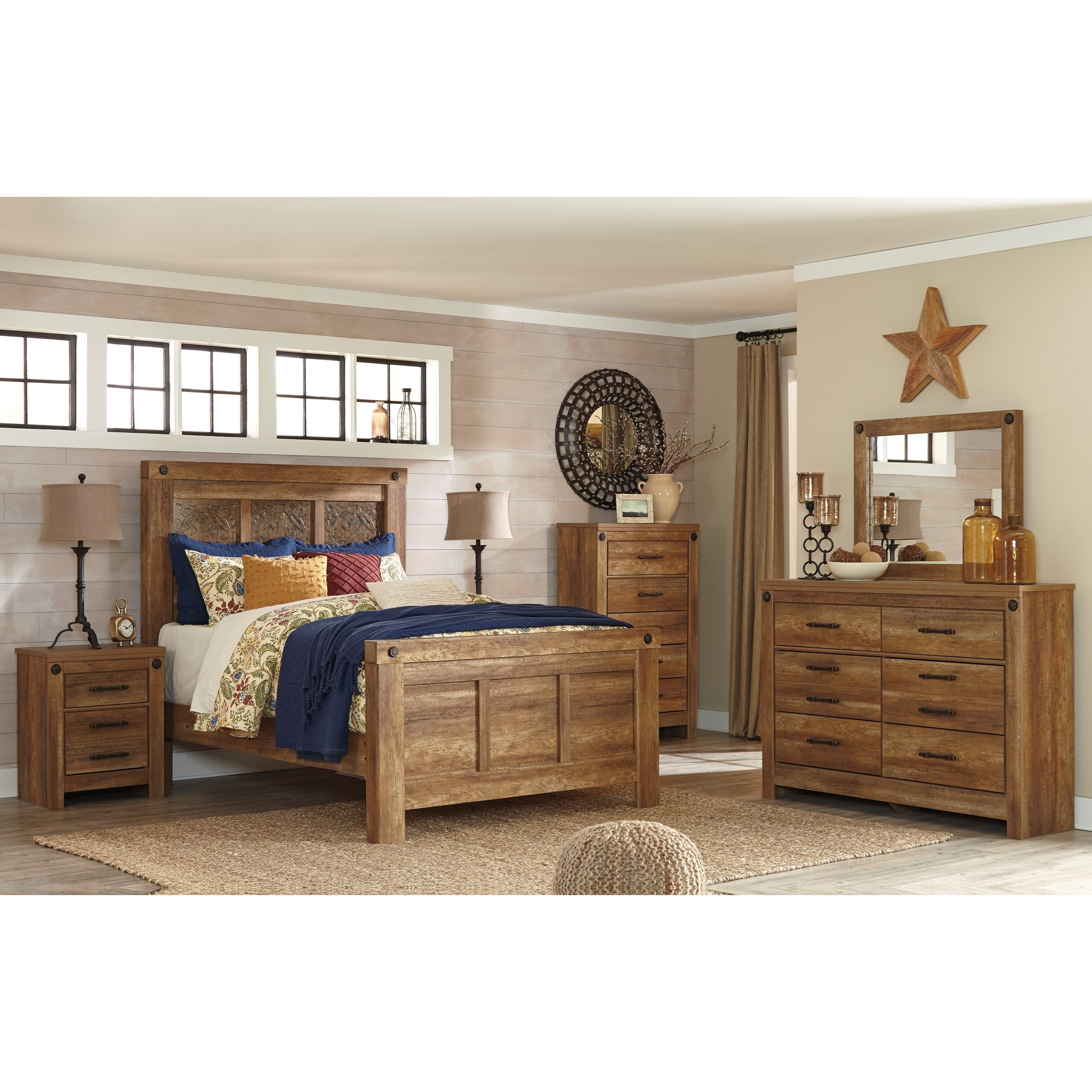 signature design by ashley ladimier queen mansion bed with rustic look