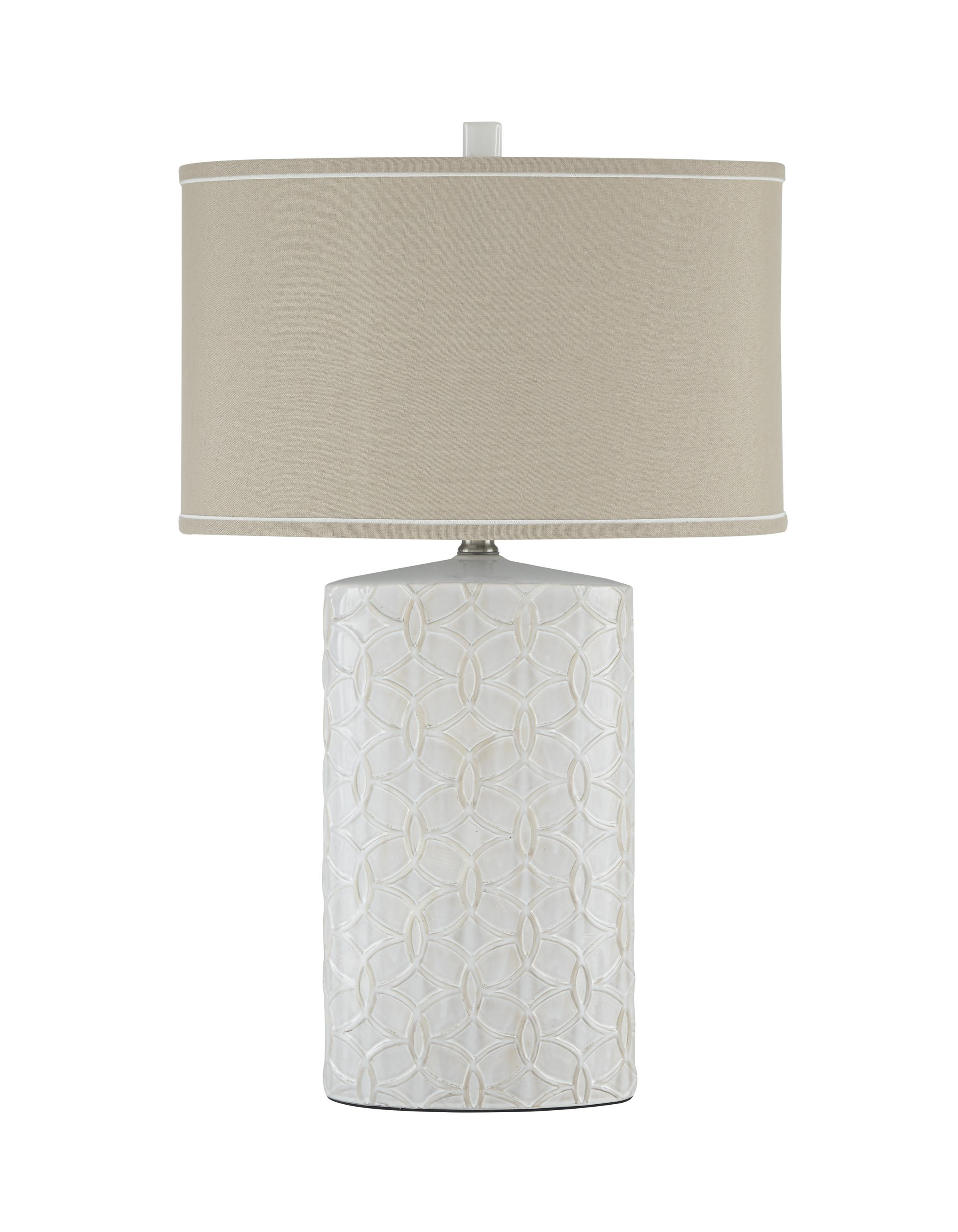 signature design by ashley lamps vintage style l100374 shelvia antique white ceramic table. Black Bedroom Furniture Sets. Home Design Ideas